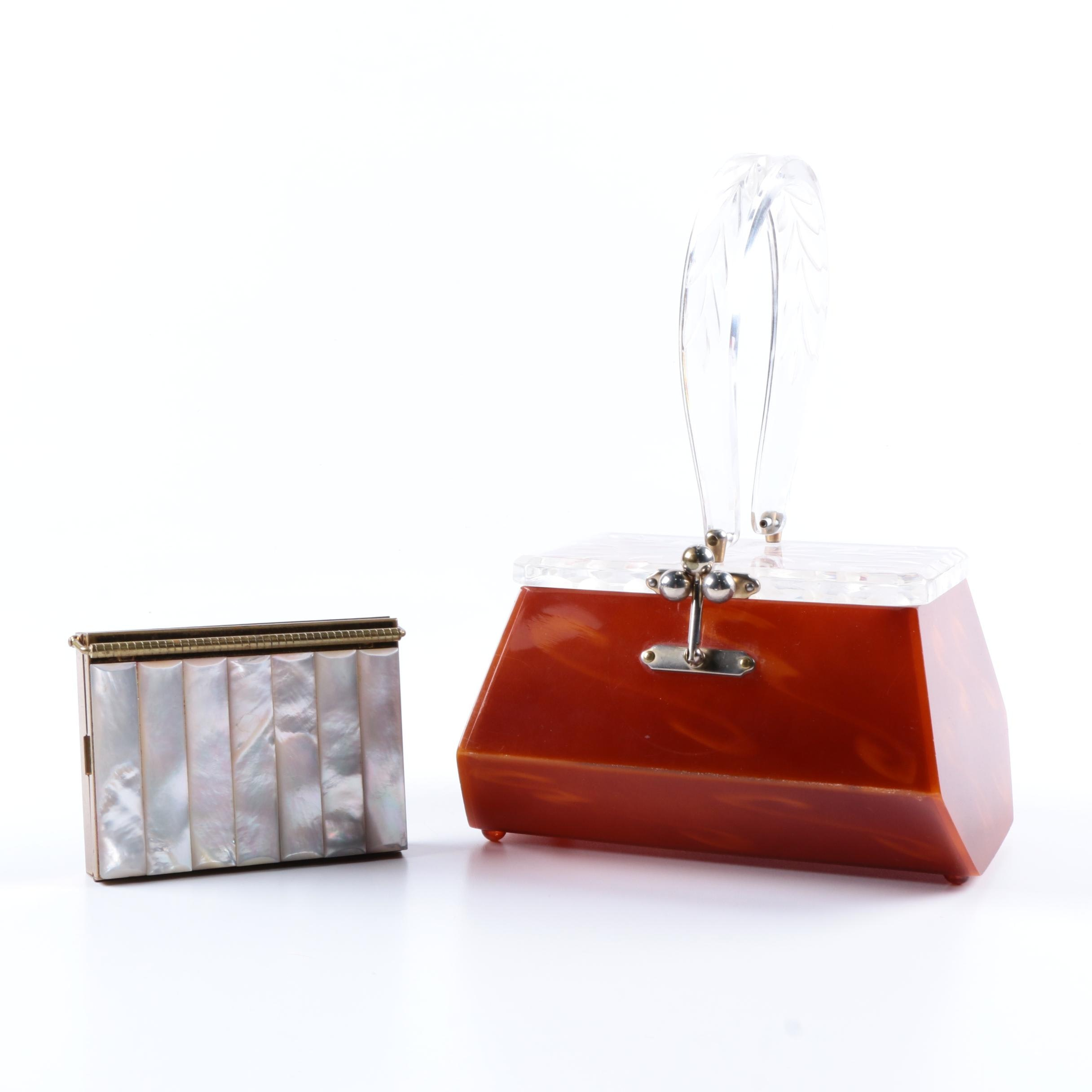 Women's Red Lucite Handbag with Mother of Pearl Cosmetic Case