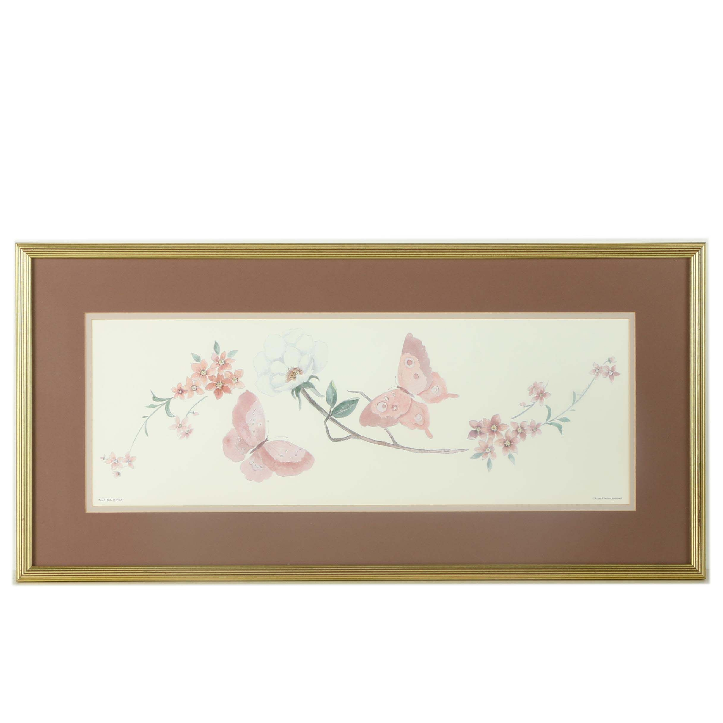 """Mary Vincent Bertrand Offset Lithograph """"Flitting Wings"""""""
