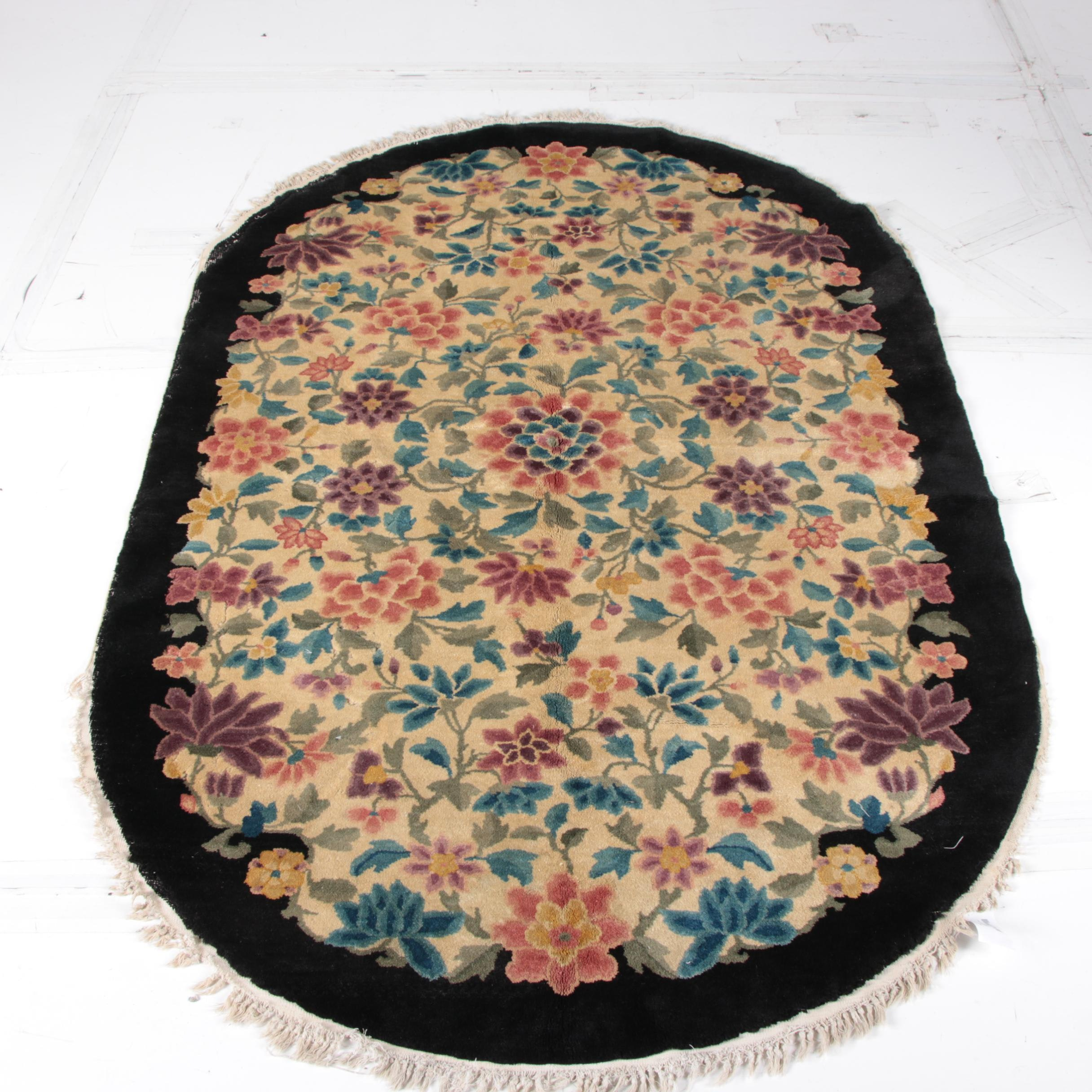 """Chinese """"Floral"""" Hand Knotted Wool Oval Rug"""
