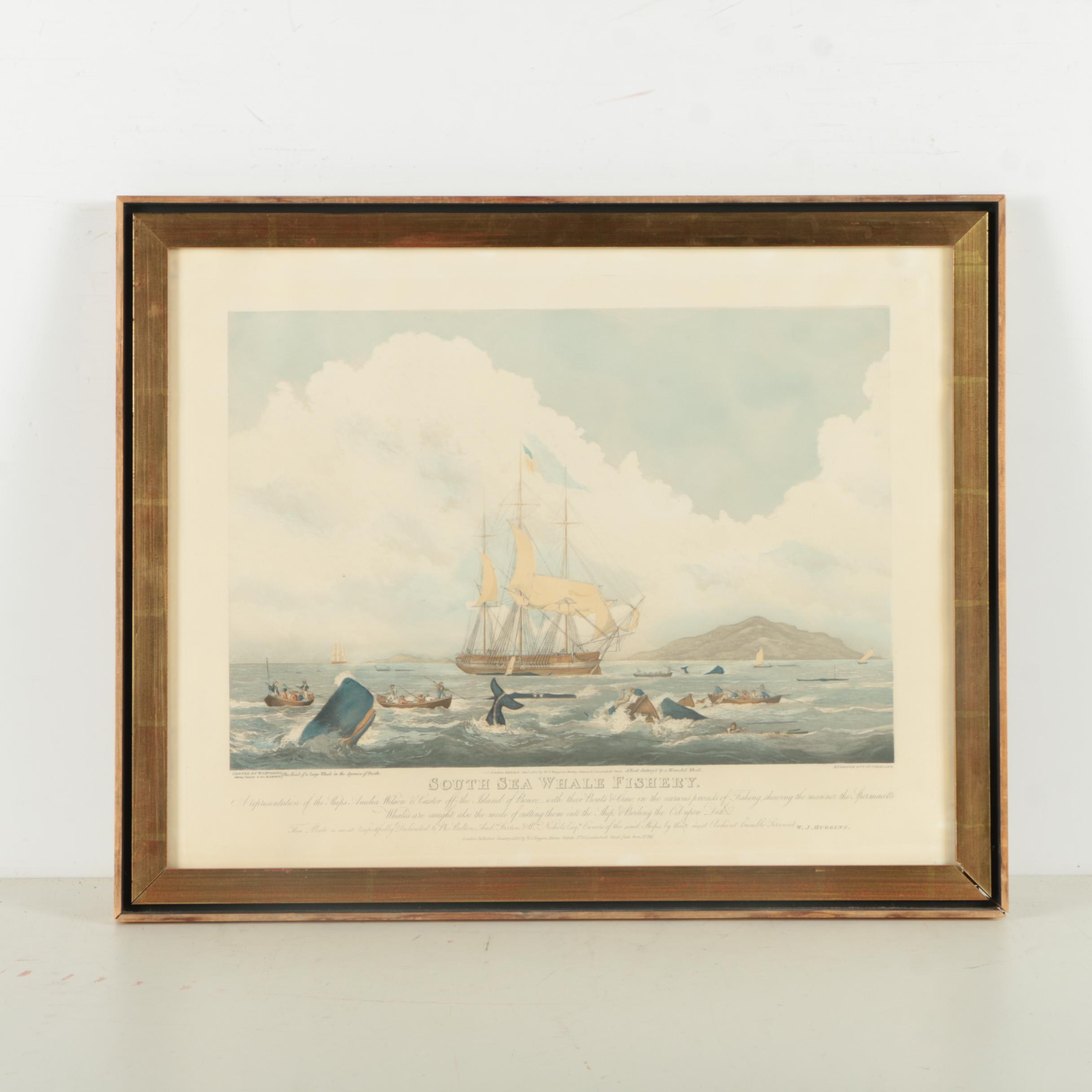 Hand Colored Aquatint after W. J. Huggins Painting