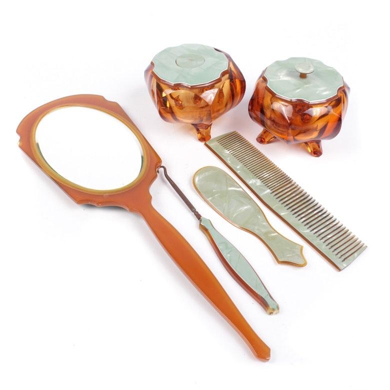 Pearled Aqwalite Vanity Set