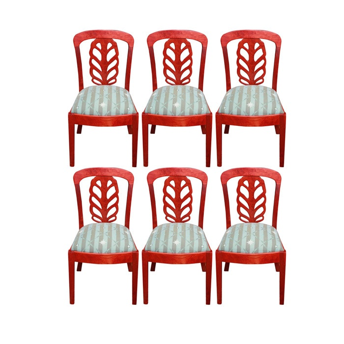 Set of Six Cherry Dining Chairs