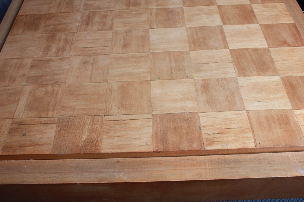 post modern deco style parquet top game table ebth. Black Bedroom Furniture Sets. Home Design Ideas