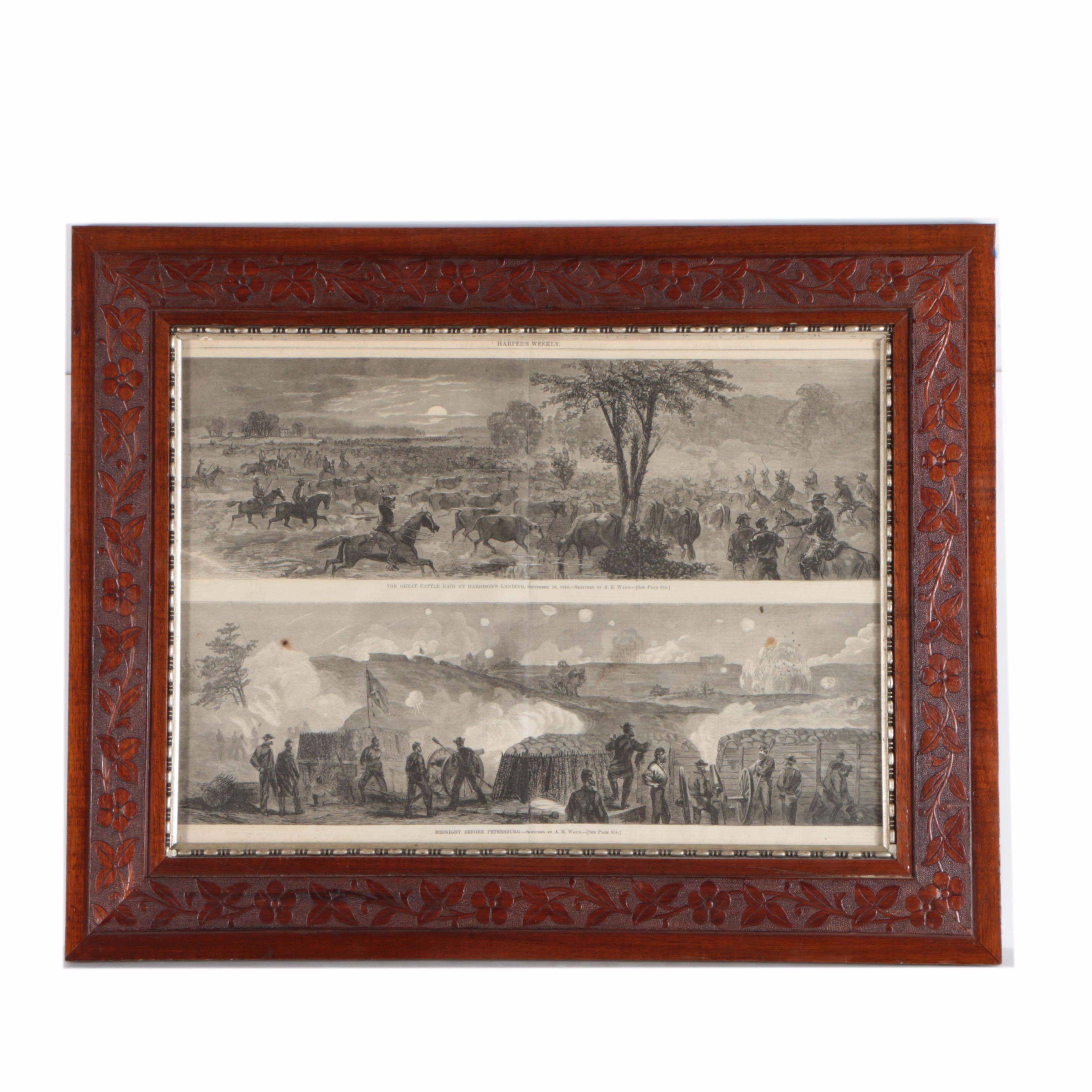 Harper's Weekly Engravings on Paper Depicting Scenes from the American Civil War