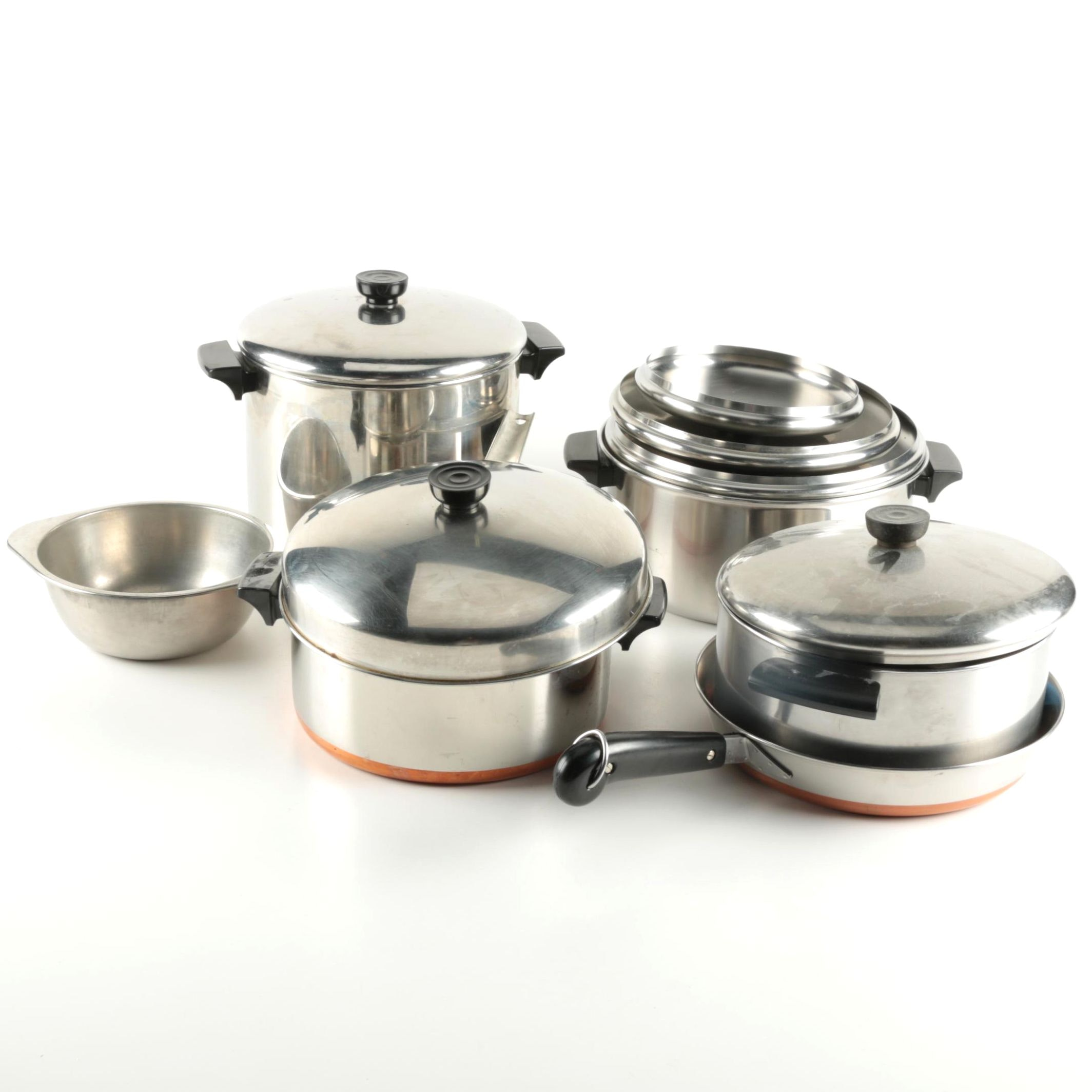 Assorted Pots and Pans Including Revere