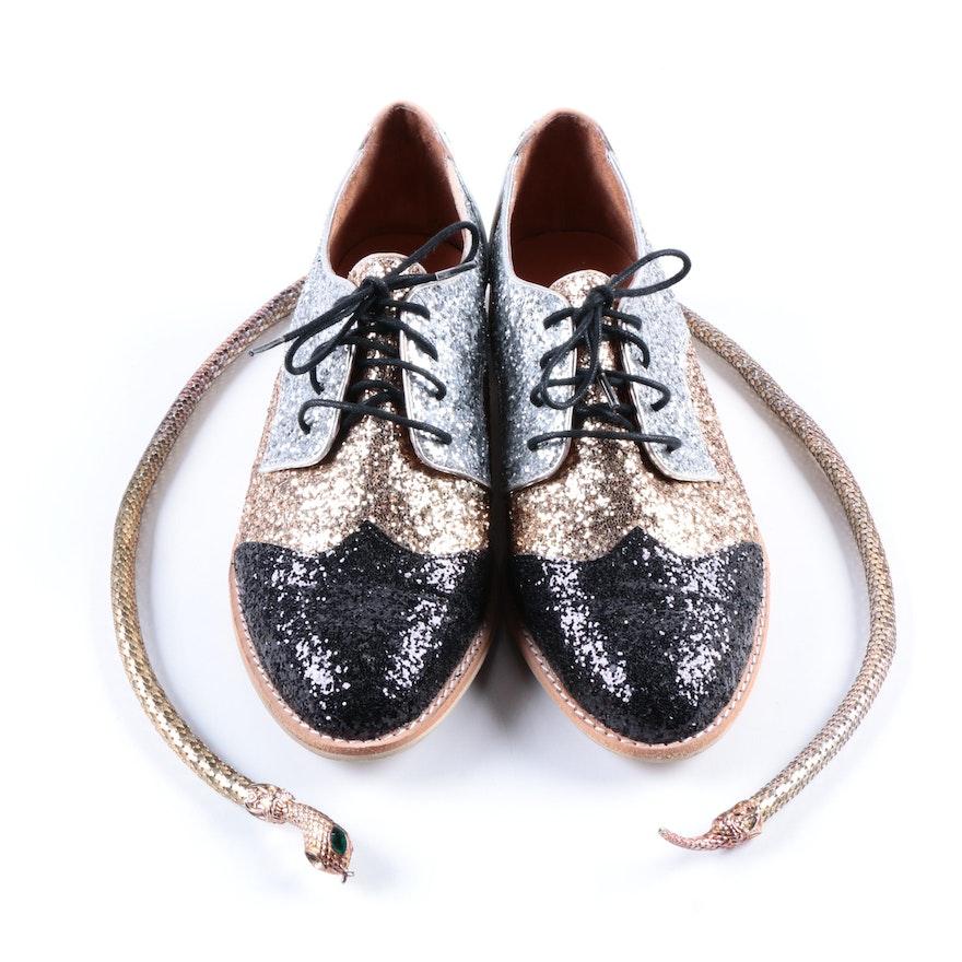 983fee4c34 All Black Glitter Saddle Shoes and Snake Belt   EBTH