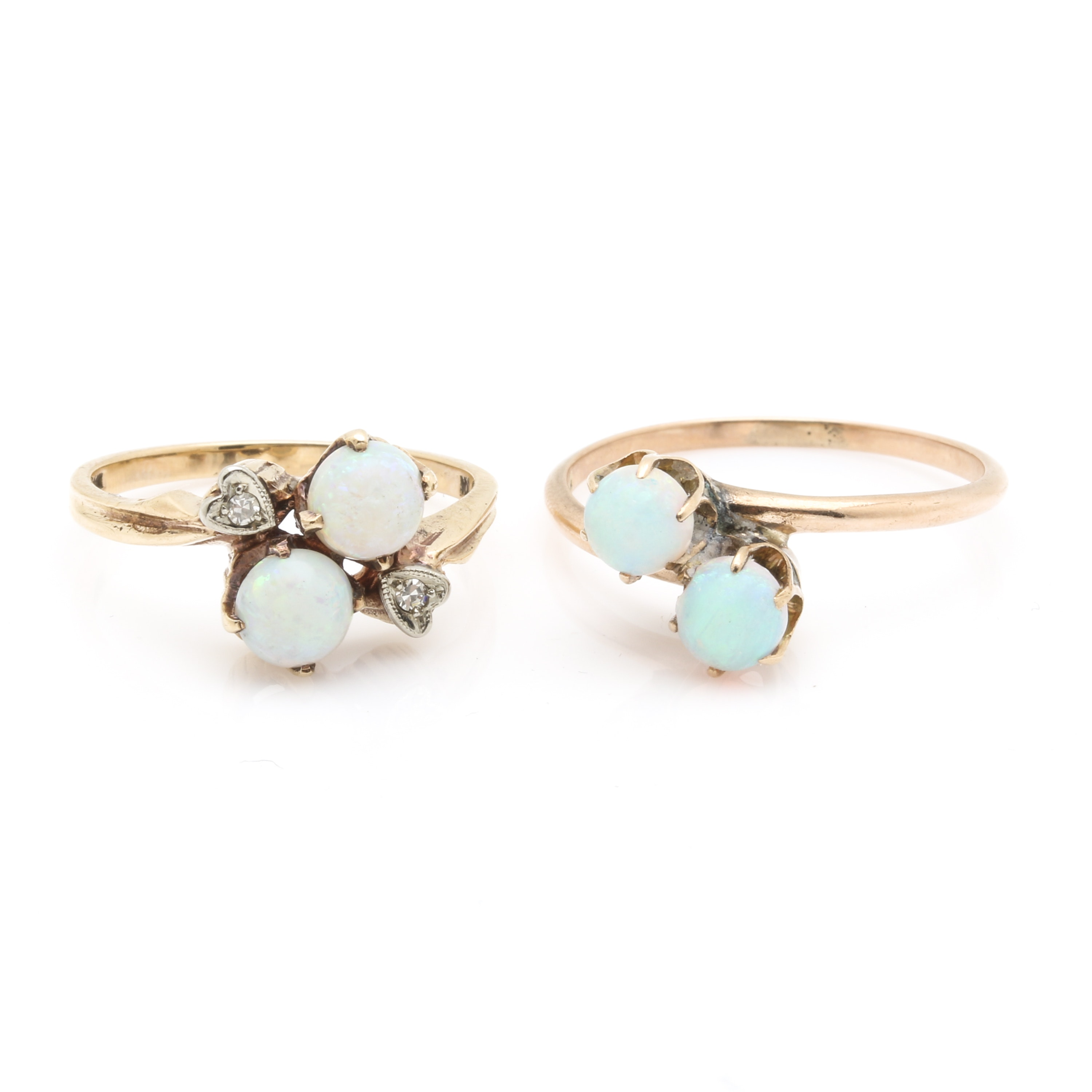 10K Yellow Gold Diamond and Opal Ring Selection