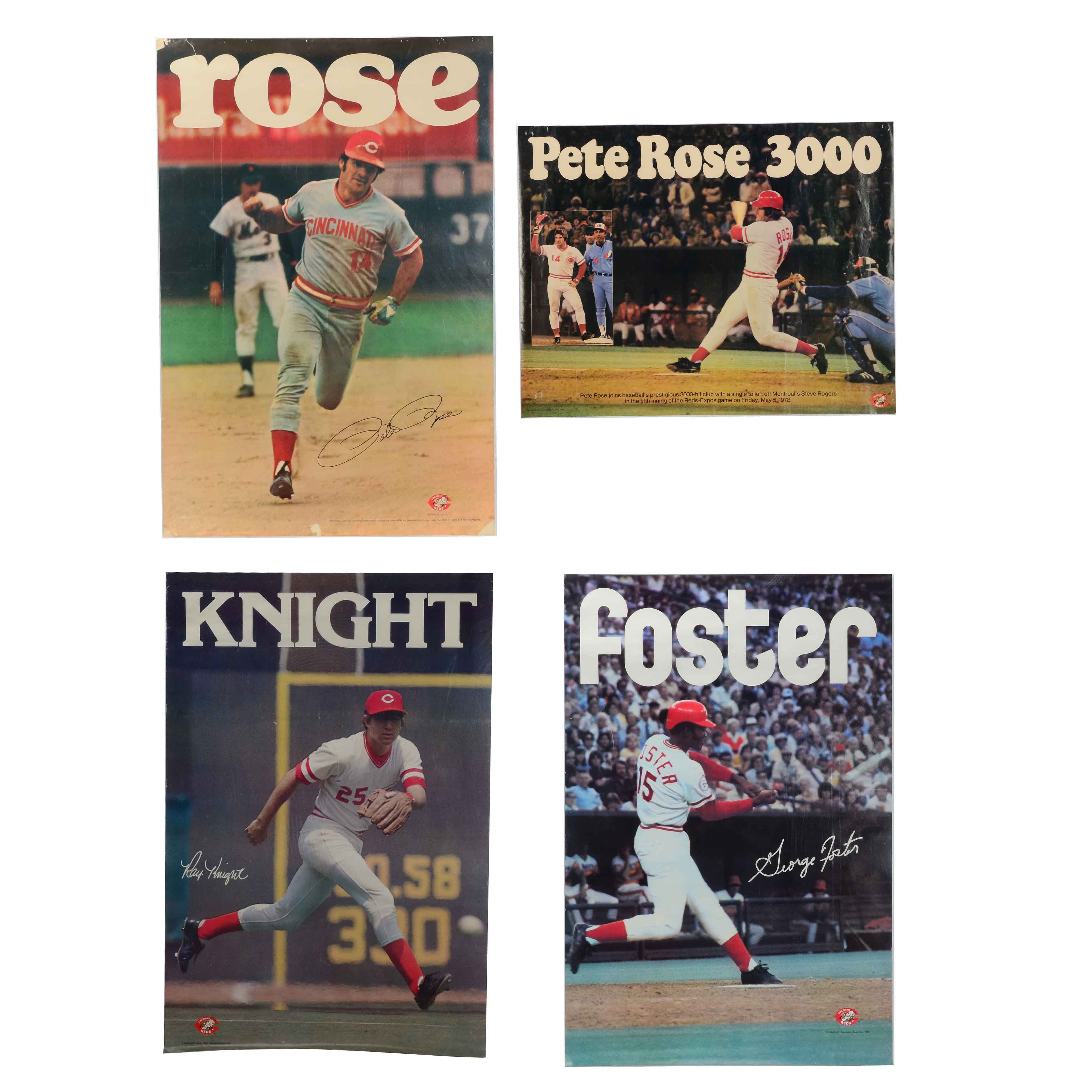 Rose, Foster, Knight Reds Baseball Posters