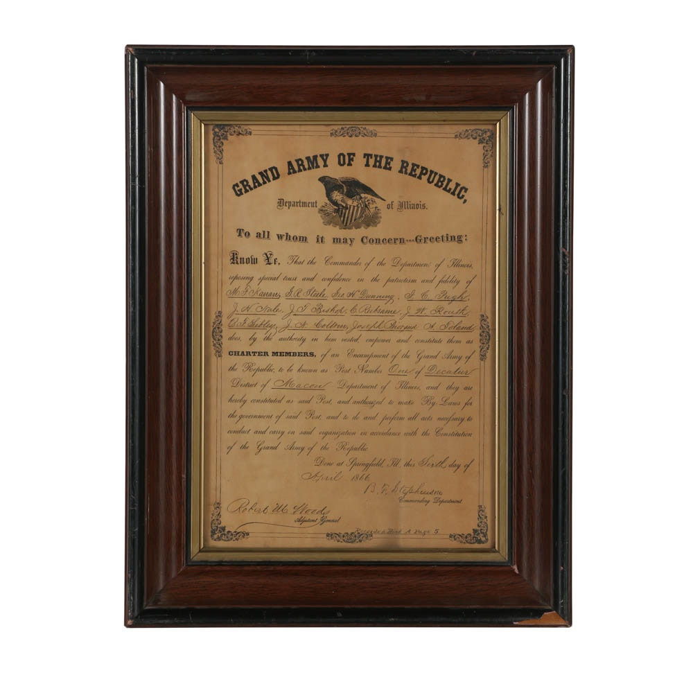 1866 Grand Army of the Republic Certificate Signed by Benjamin F. Stephenson