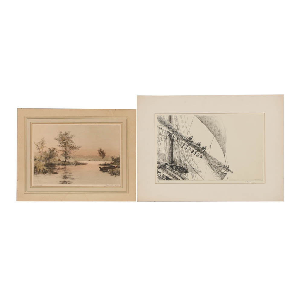 Pair of Etchings on Paper with Boat Themes