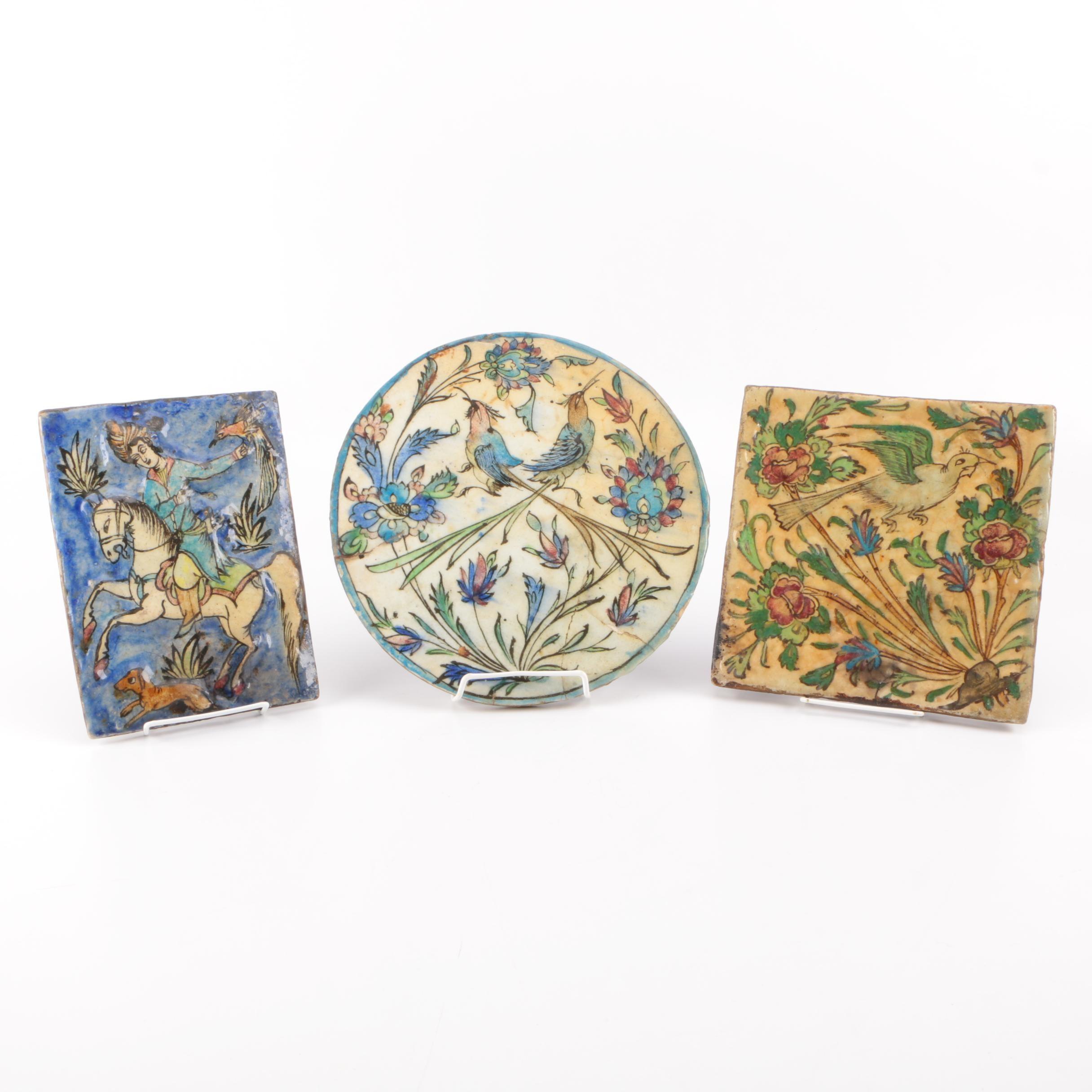 Three Stoneware Pottery Tiles