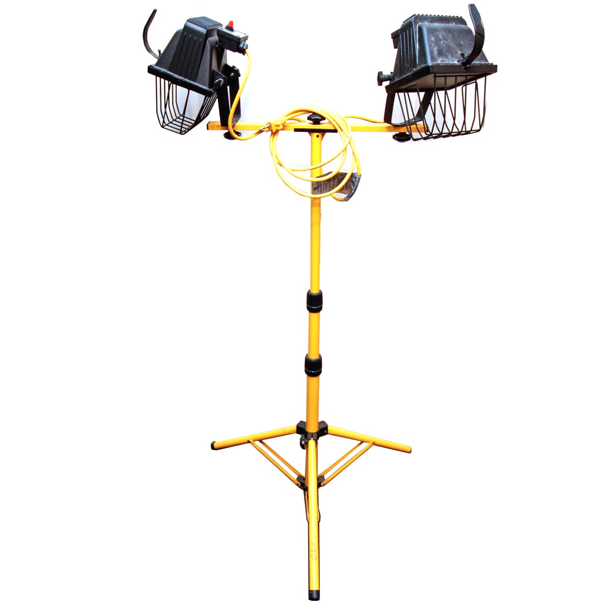 Industrial Two Headed Light with Metal Tripod Frame