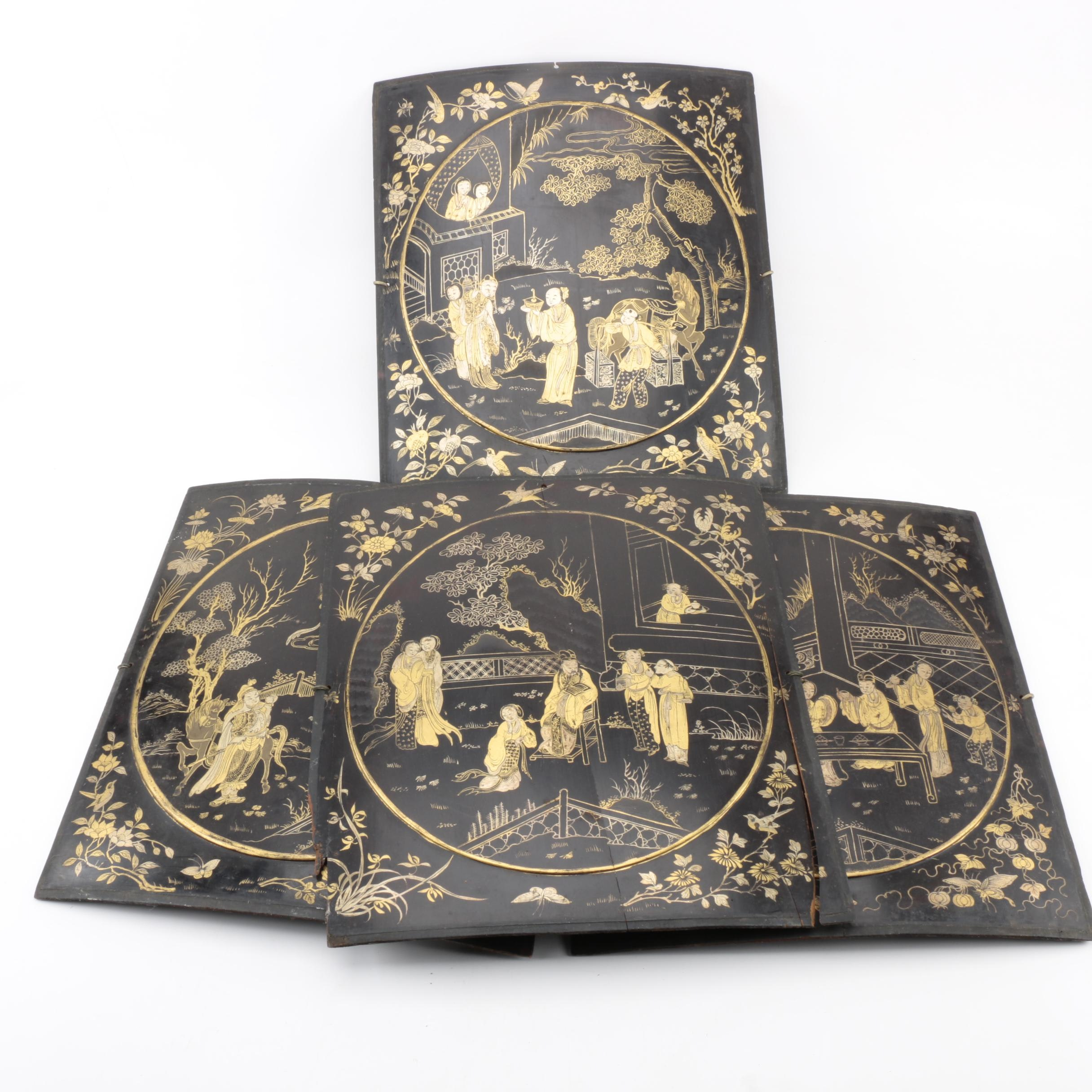 Asian Hand Painted Wood Wall Plaques
