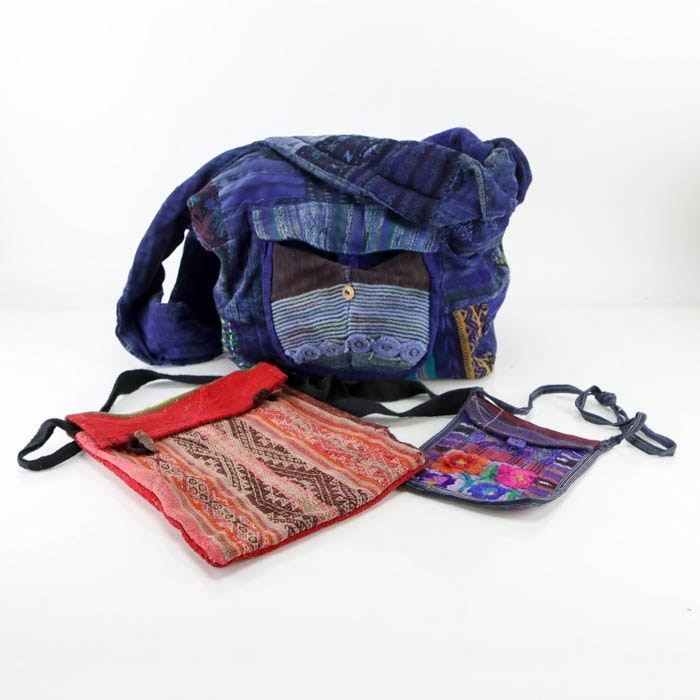 Assortment of South American Inspired Woven Textile Bags