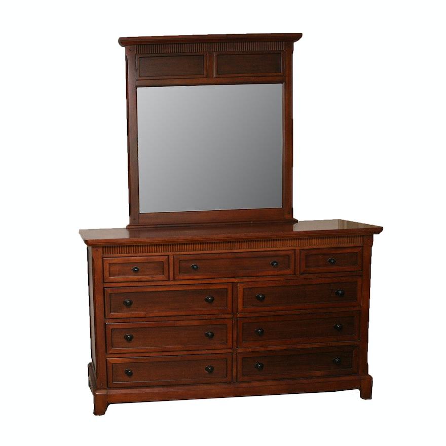 Contemporary Style Dresser And Mirror Ebth