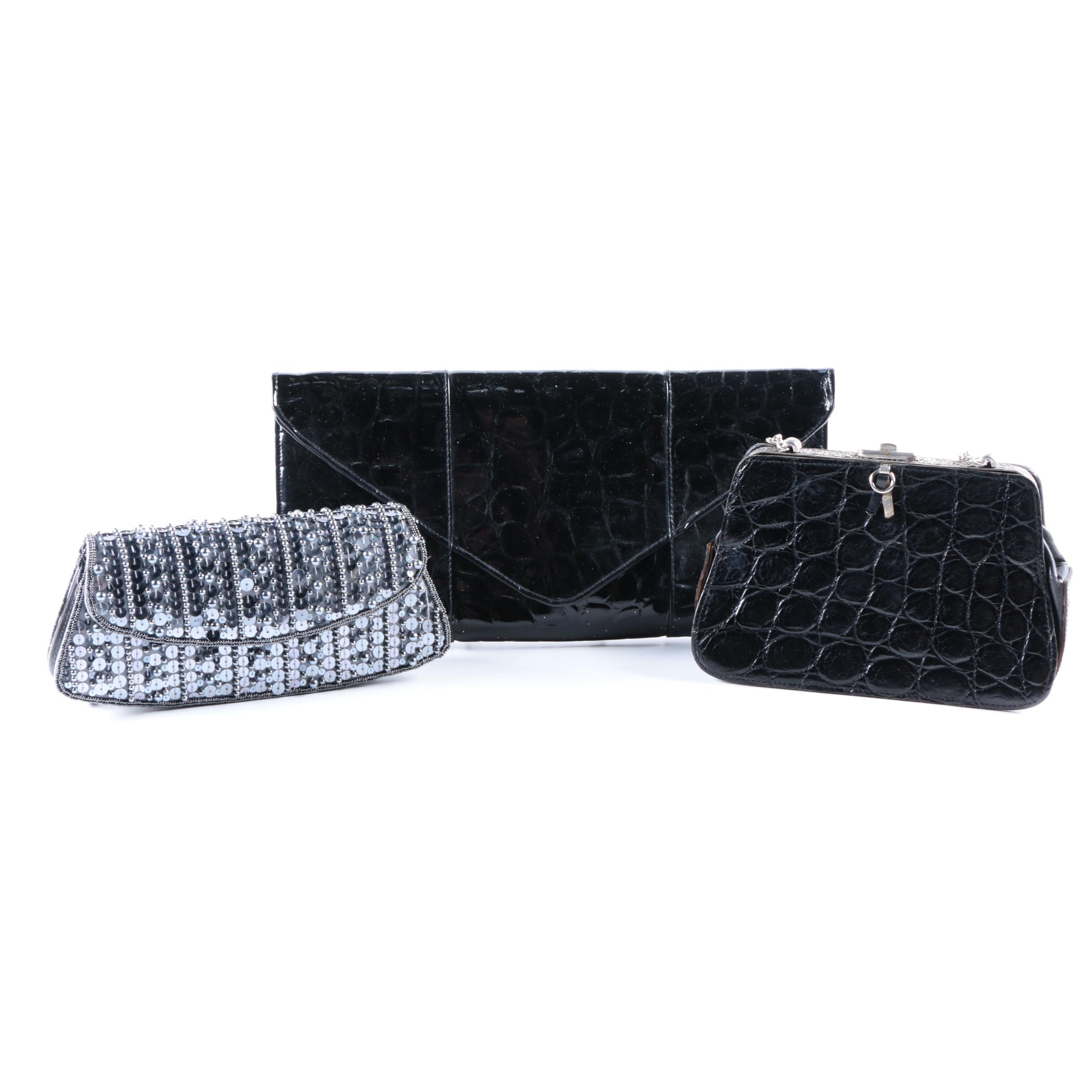 Embellished and Embossed Leather Occasion Handbags