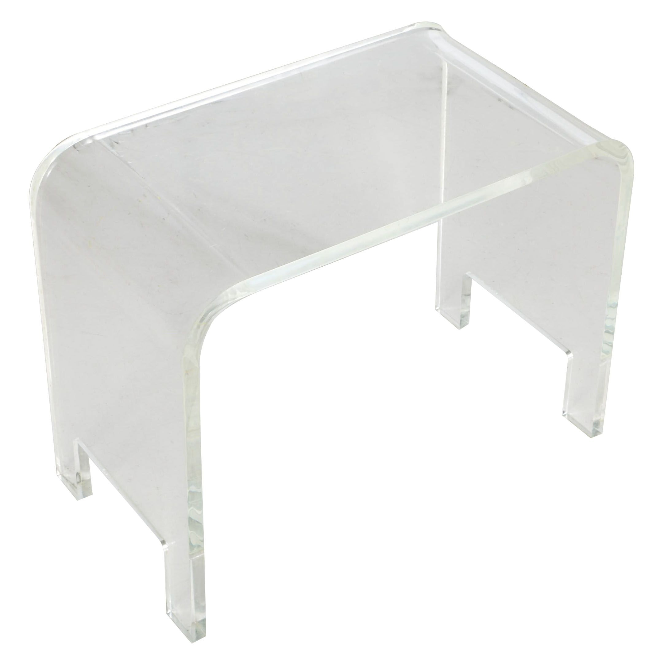 Vintage Clear Lucite Waterfall Style Side Table