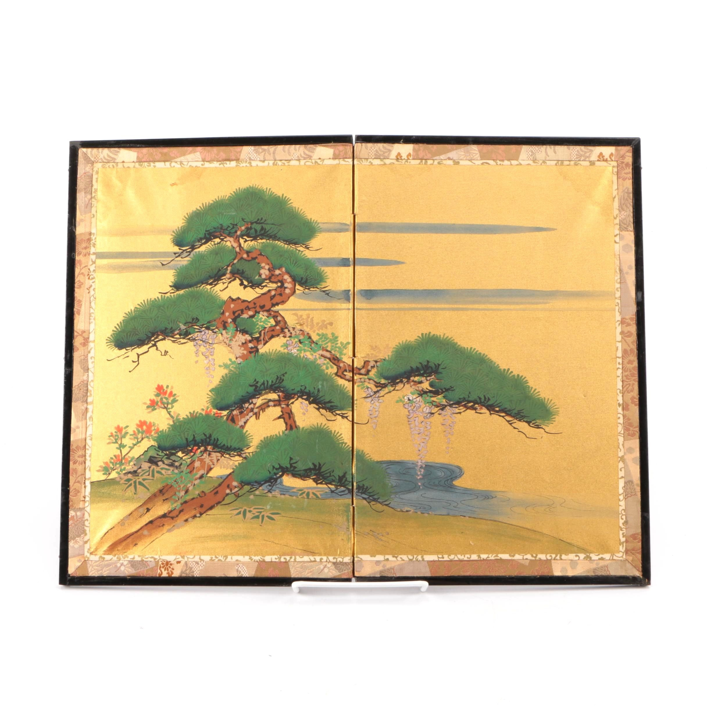 East Asian Inspired Tabletop Folding Screen with Painted Landscape on Silk