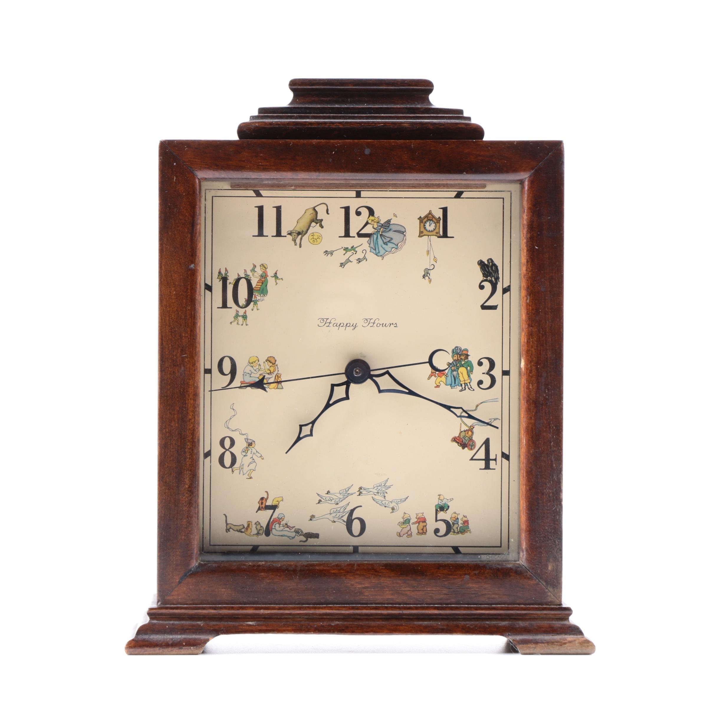 Happy Hours Wooden Mantel Clock