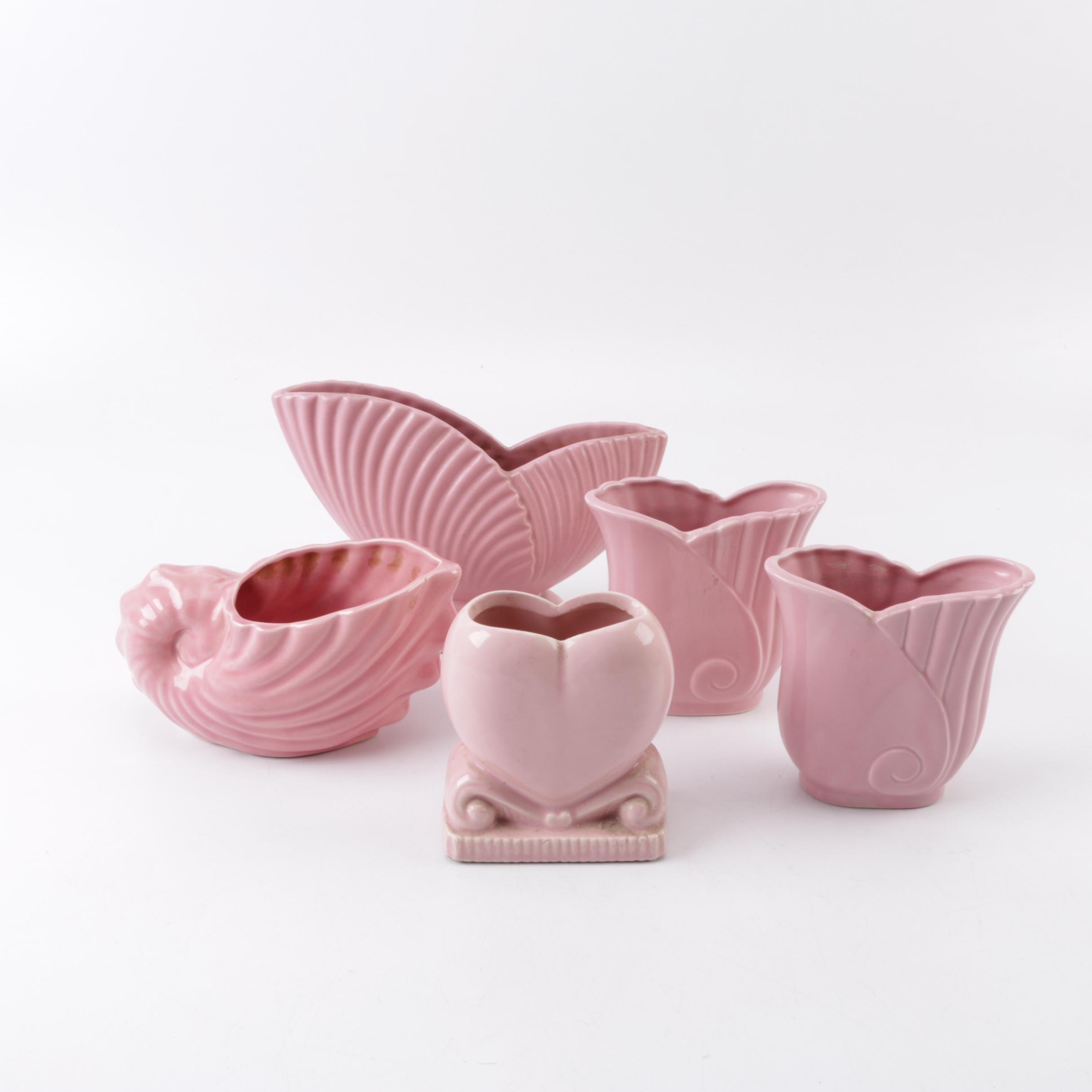 Vintage Pink Ceramic Vase and Planter Assortment