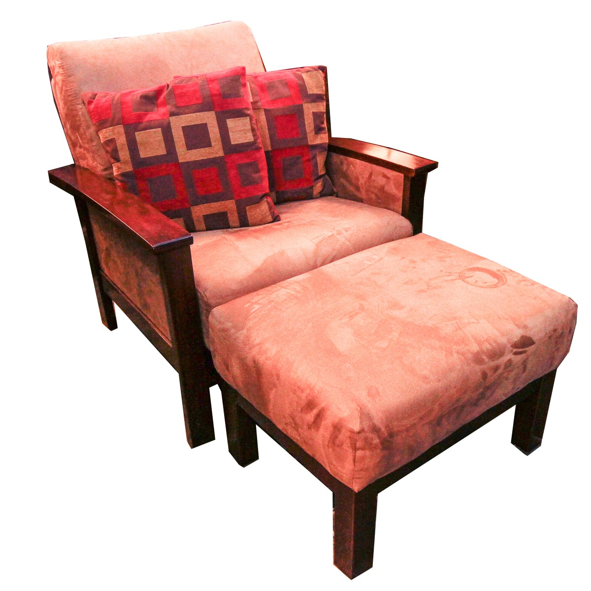 Upholstered Armchair and Ottoman