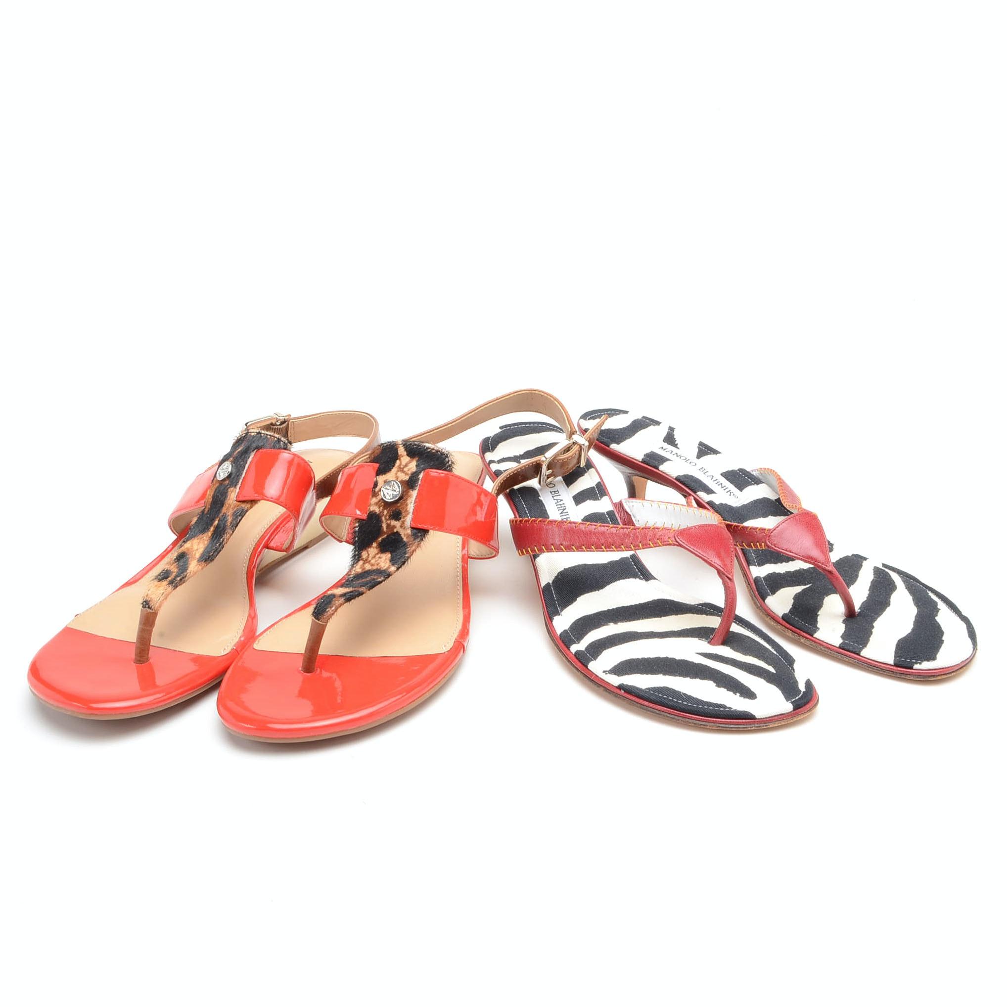 Two Pairs of Designer Sandal Heels