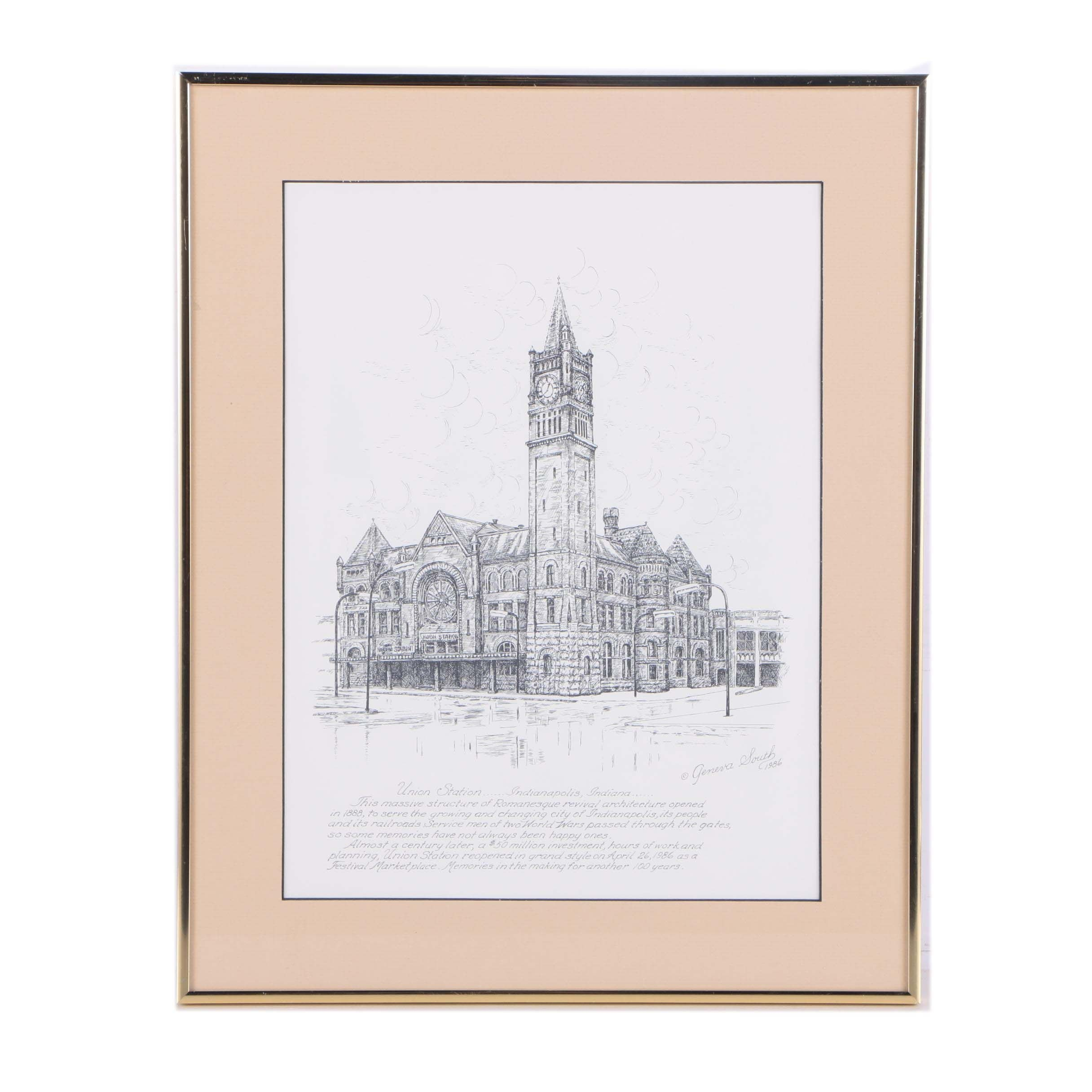 Intaglio Print on Paper After Geneva South Etching of Union Station Indianapolis