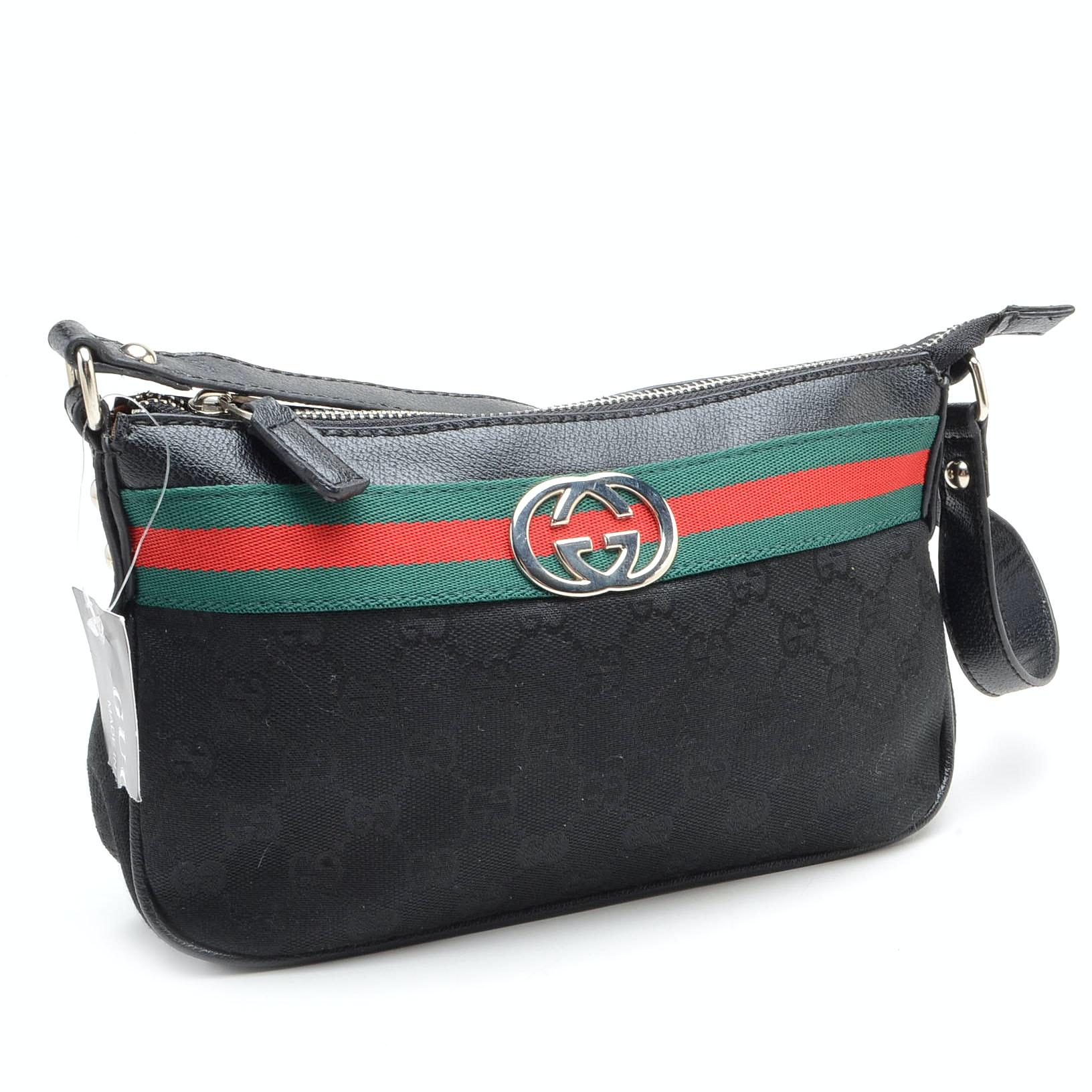 Gucci Logo Canvas Striped Handbag