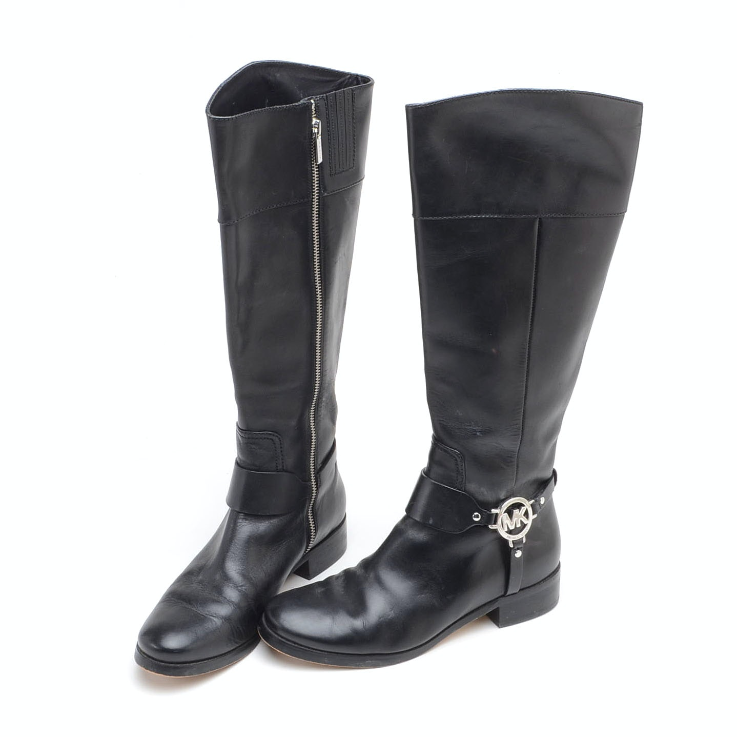 Pair of Michael Kors Black Leather Fulton Harness Riding Boots