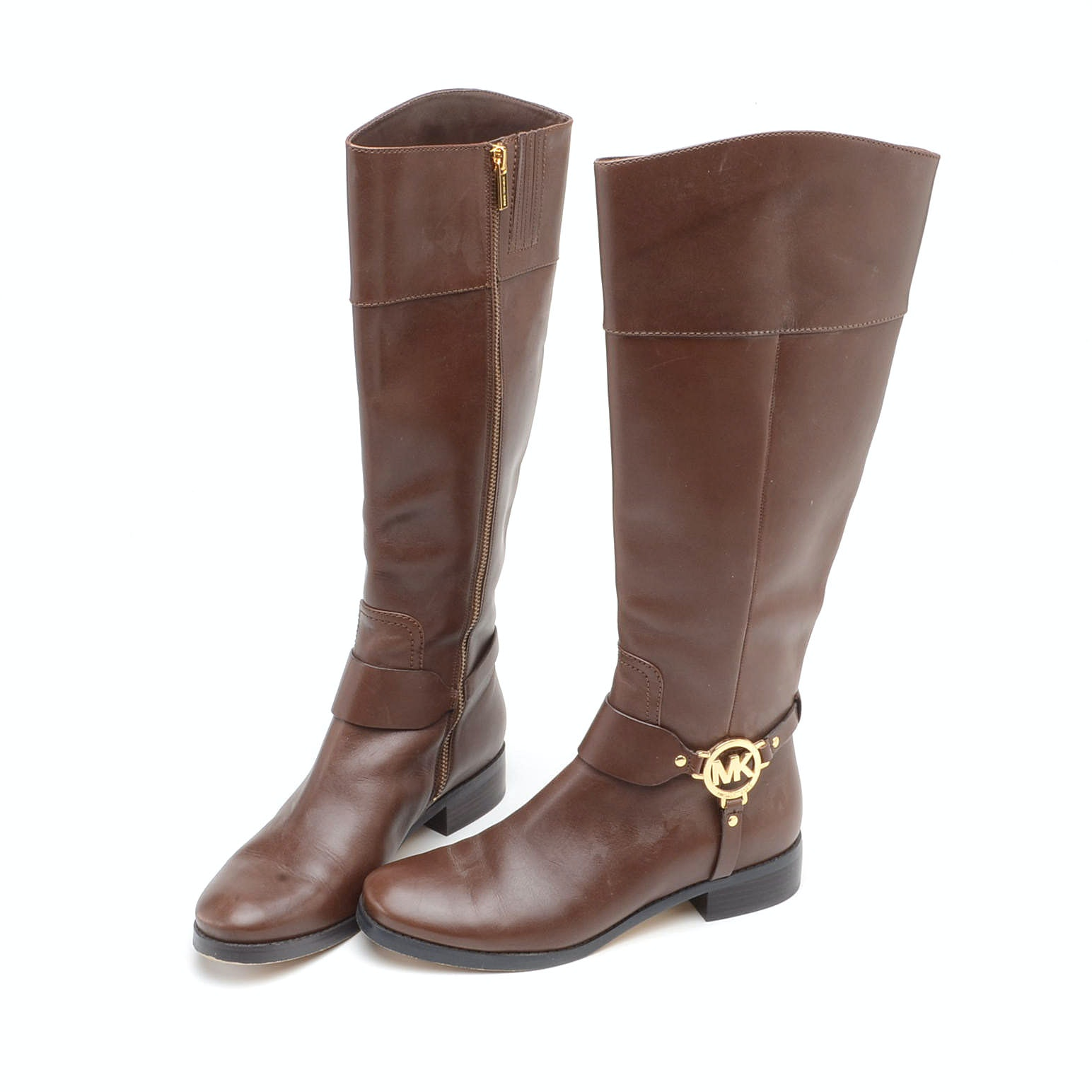 Pair of Michael Kors Brown Leather Fulton Harness Riding Boots