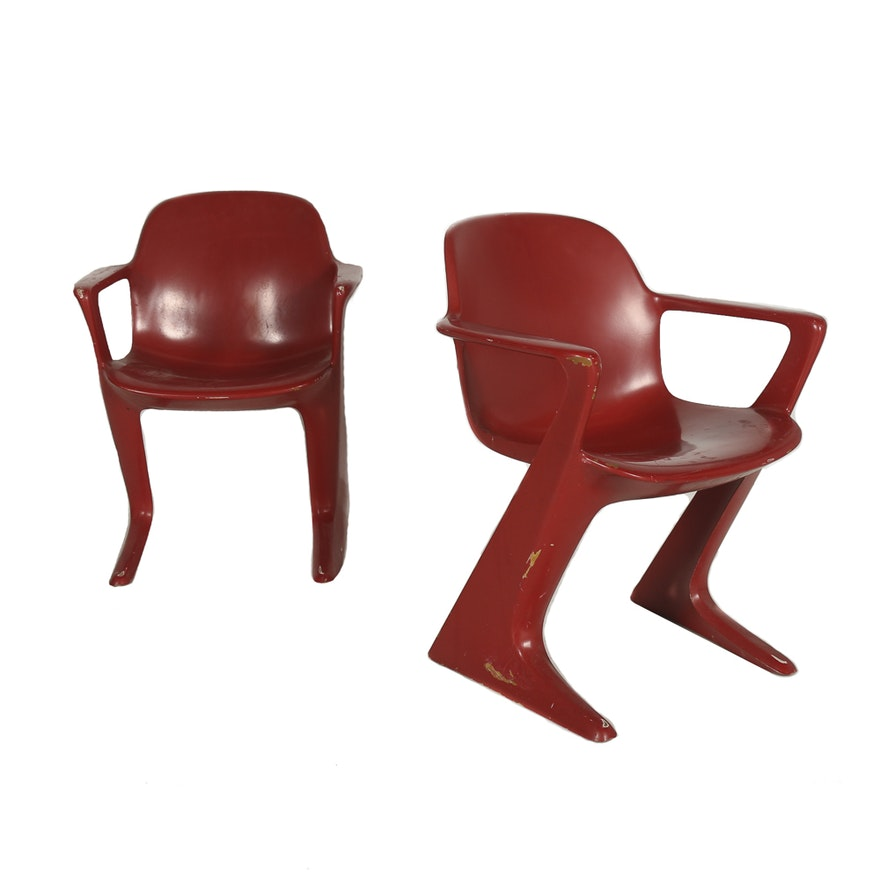 Mid century modern molded plastic chairs in red ebth for Plastic modern chairs