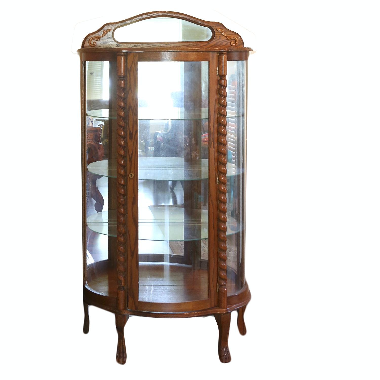Vintage Oak Bow Front Curio Cabinet