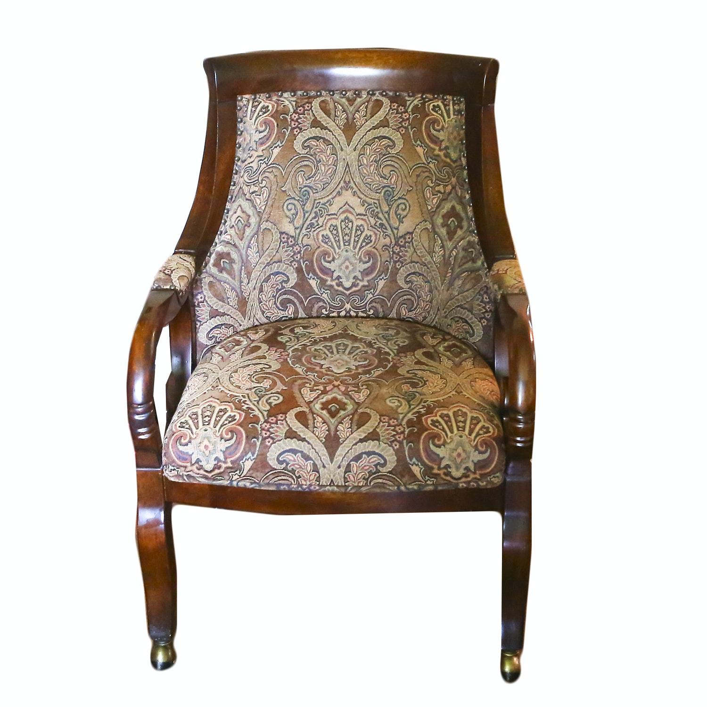 Velvet Upholstered Empire Style Armchair