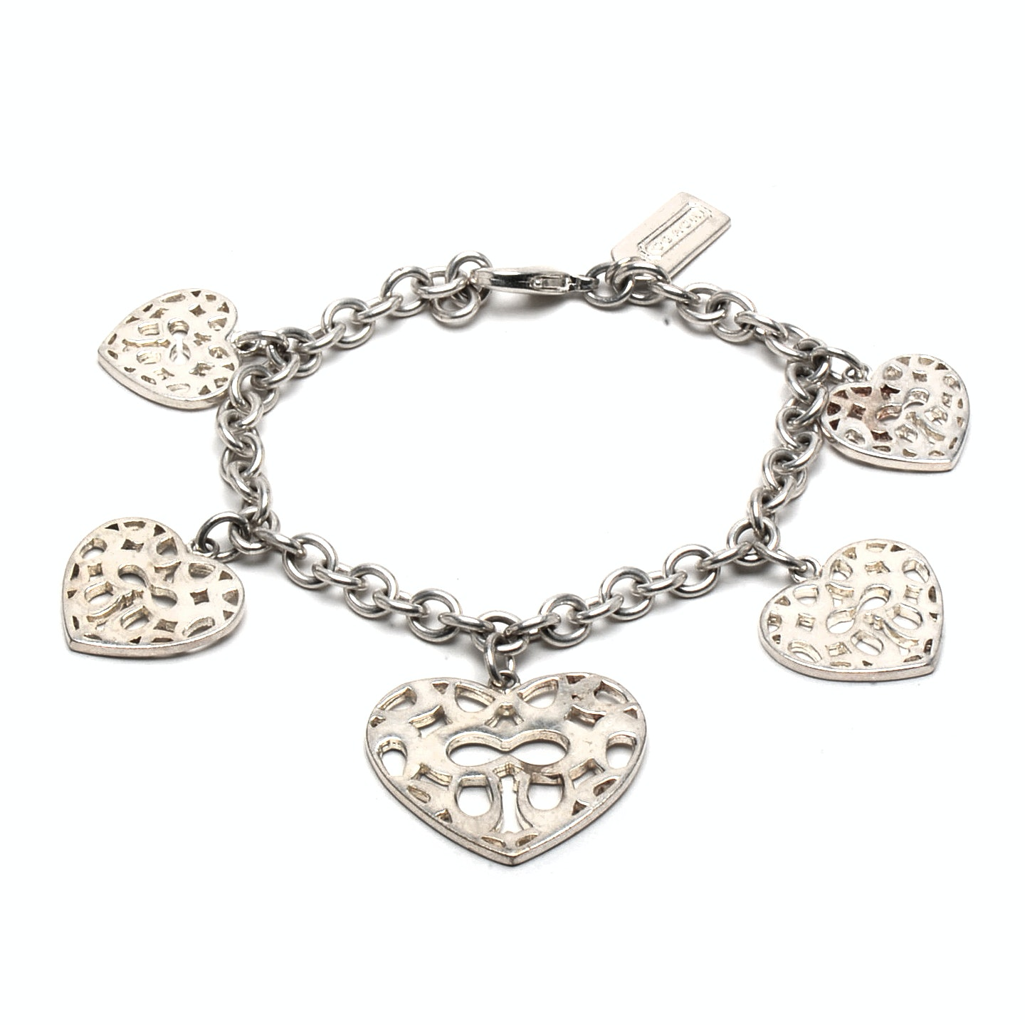 Coach Sterling Silver Bracelet with Heart-Shaped Charms : EBTH