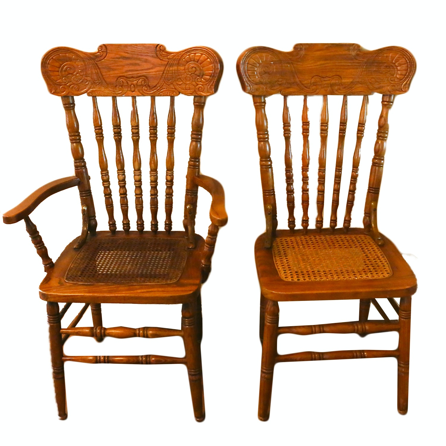 Set of Vintage Caned Seat Dining Chairs