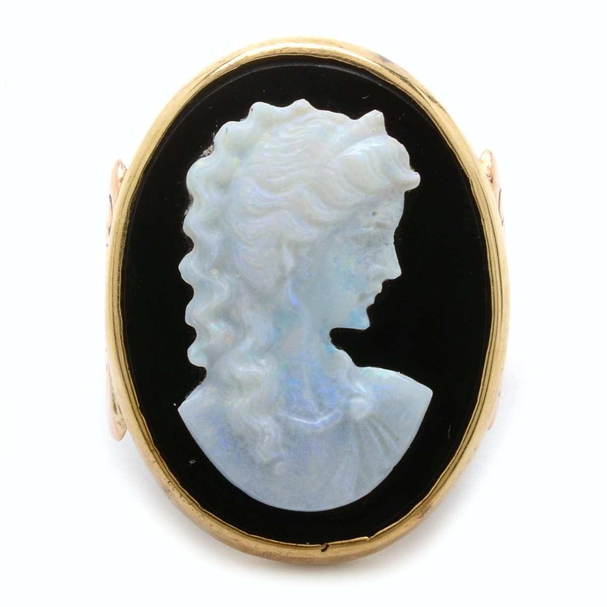 14K Gold Ring With Black Onyx and Carved Opal Commesso Cameo