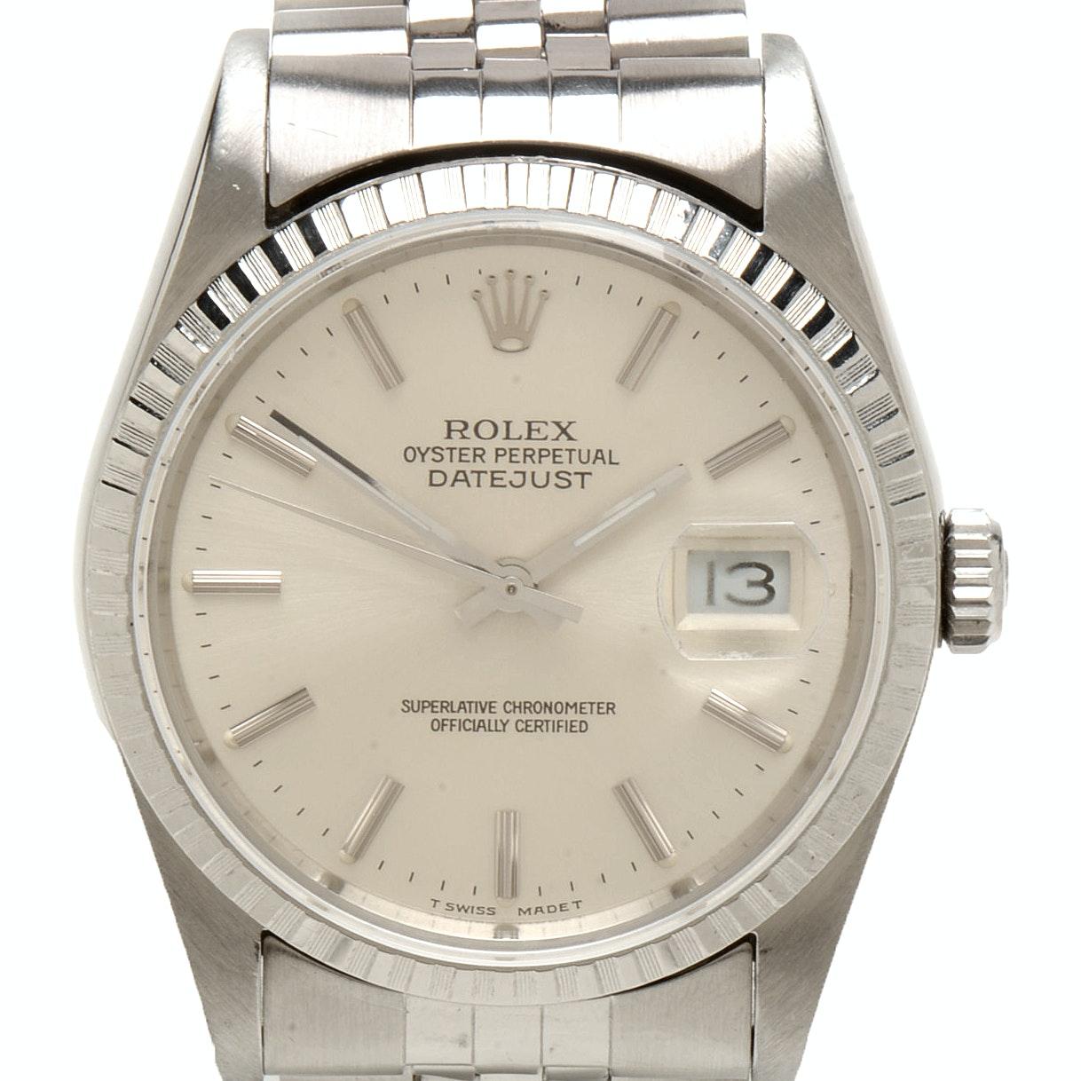Rolex Datejust 16220 Automatic 36mm Silver Index Jubilee Steel Wristwatch