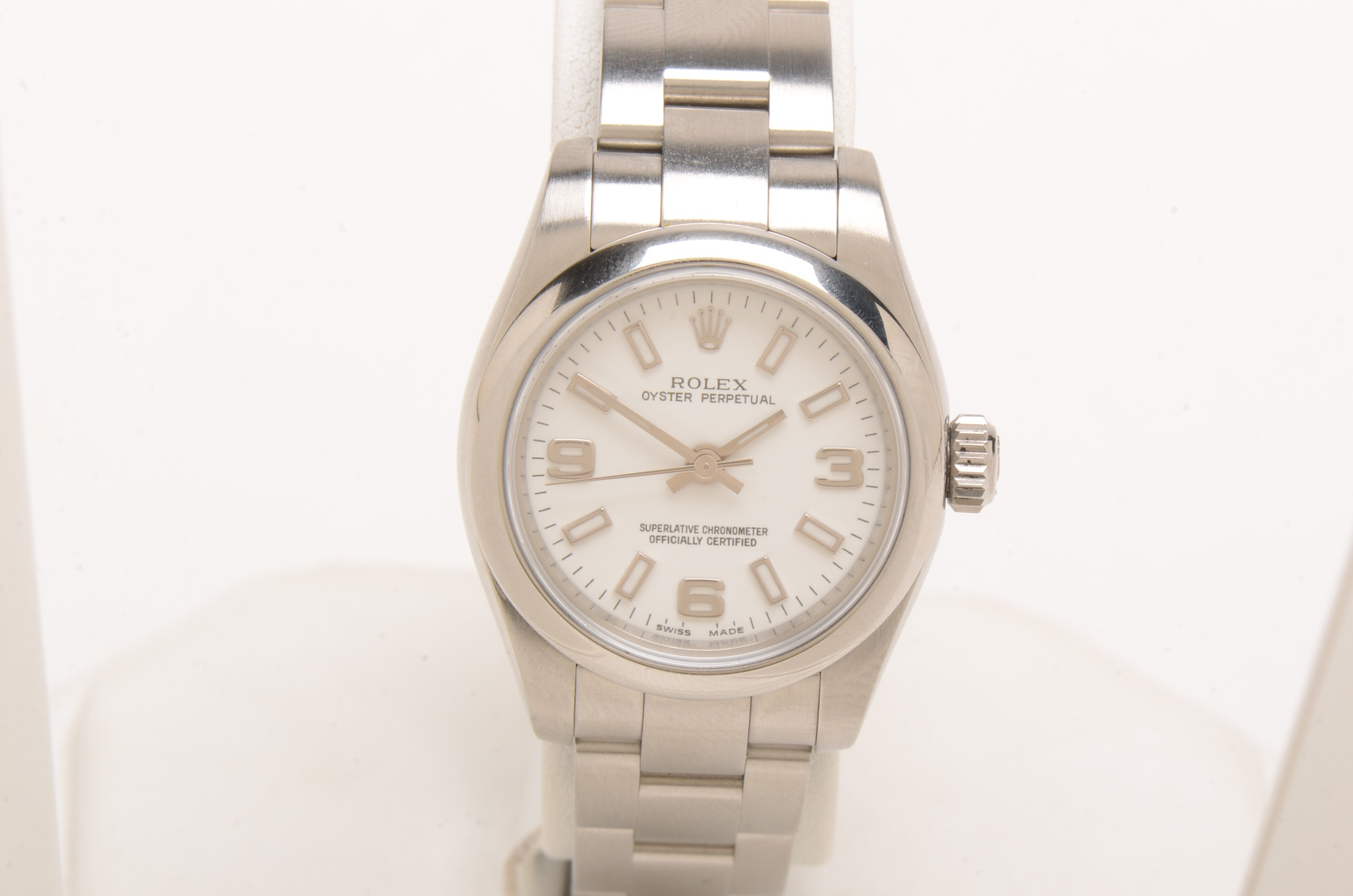 Rolex Oyster Perpetual White Automatic 26mm Stainless Steel Wristwatch