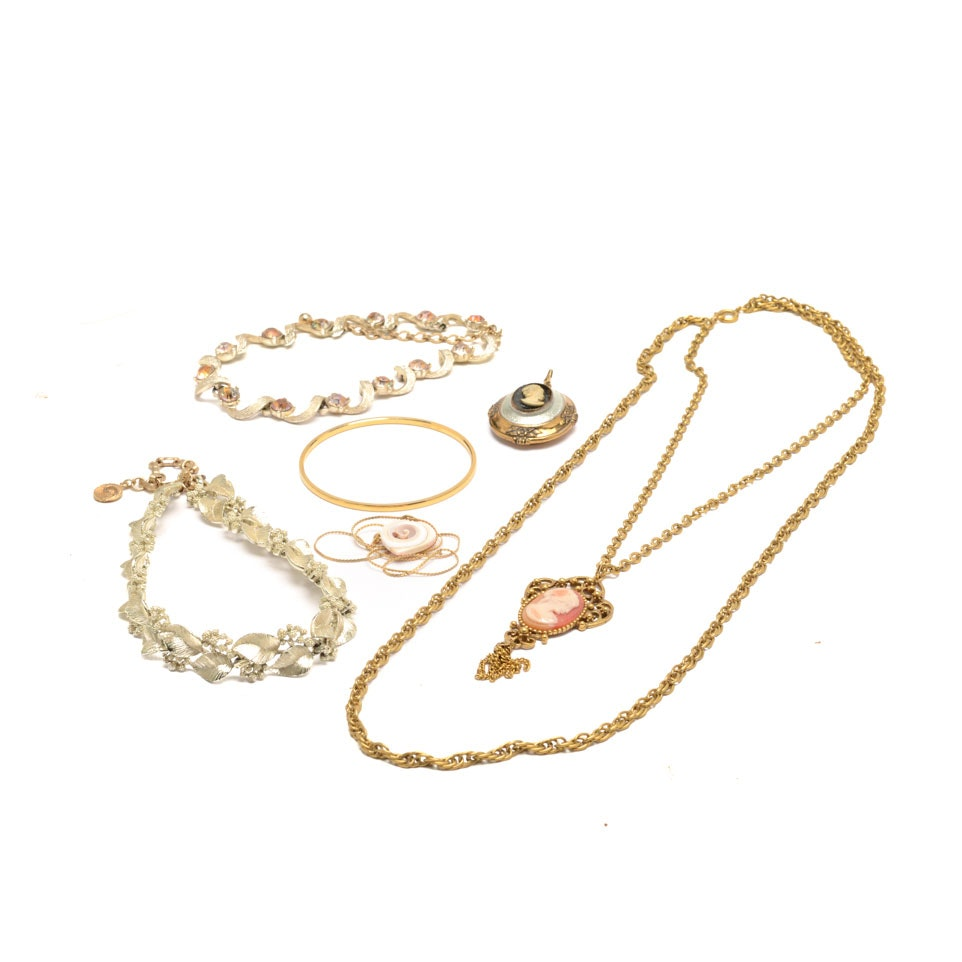 Assortment of Vintage Gold-Tone Costume Jewelry