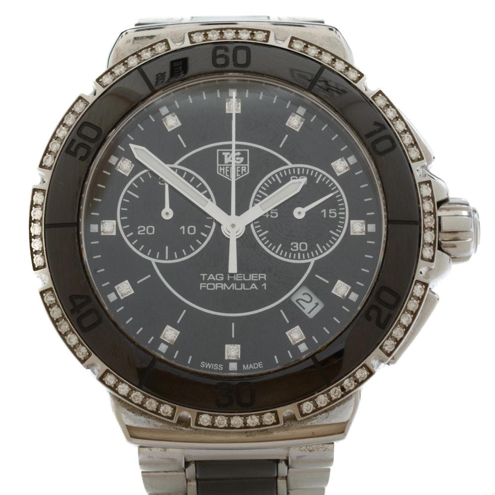 TAG Heuer Chronograph Formula 1 41mm Quartz Black Ceramic Diamond Wristwatch