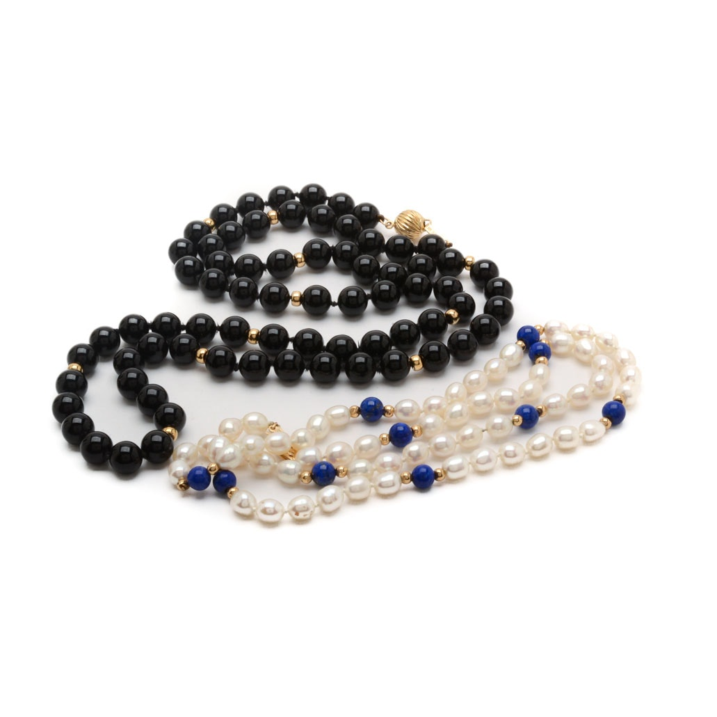 Cultured Pearl and Black Onyx Necklaces with 14K Yellow Gold Clasps