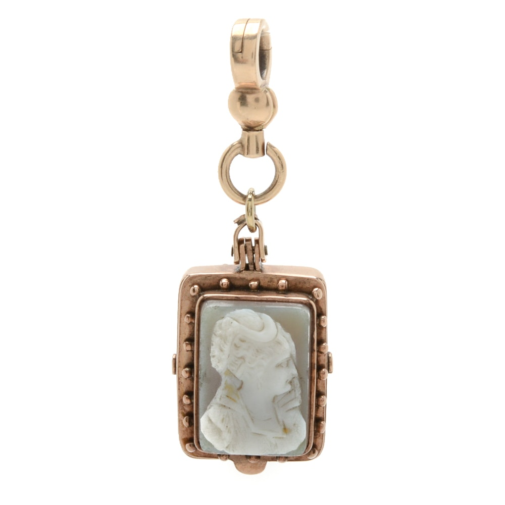 Victorian 10K Yellow Gold and Agate Cameo Pendant
