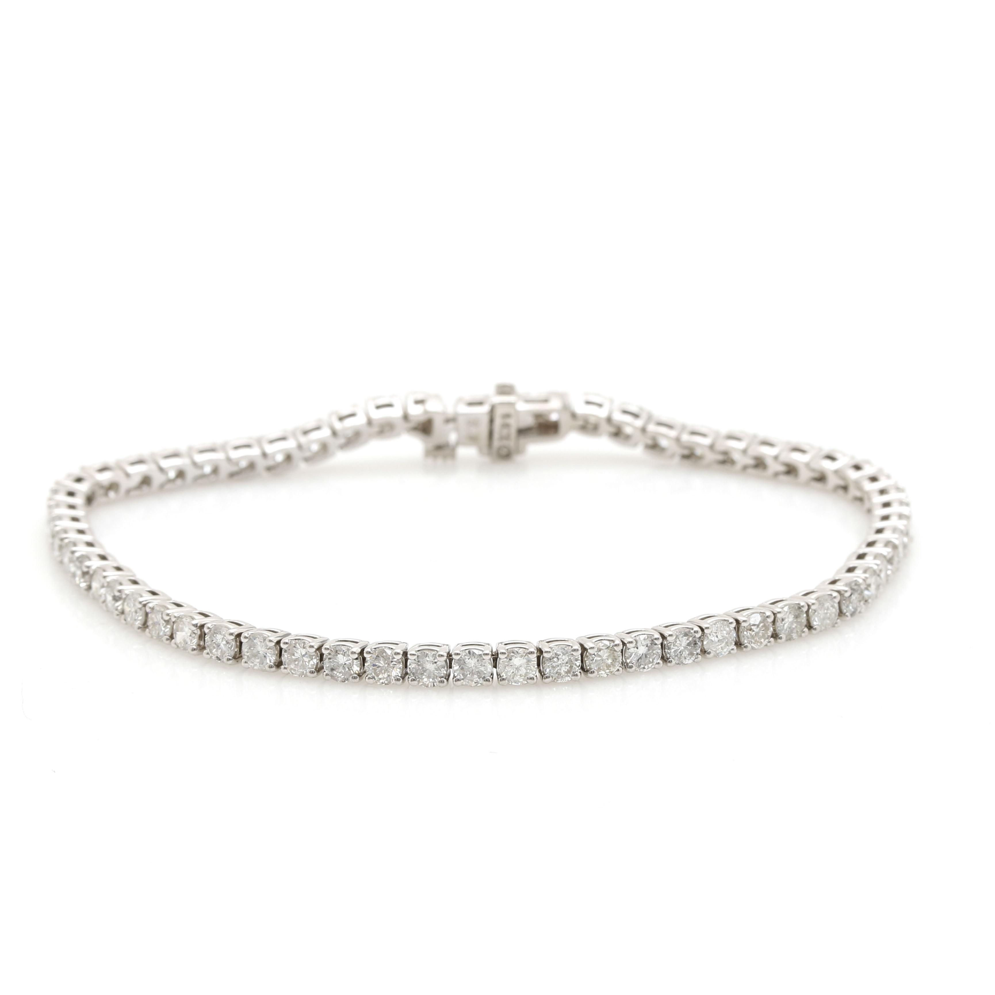 14K White Gold 4.13 CTW Diamond Tennis Bracelet