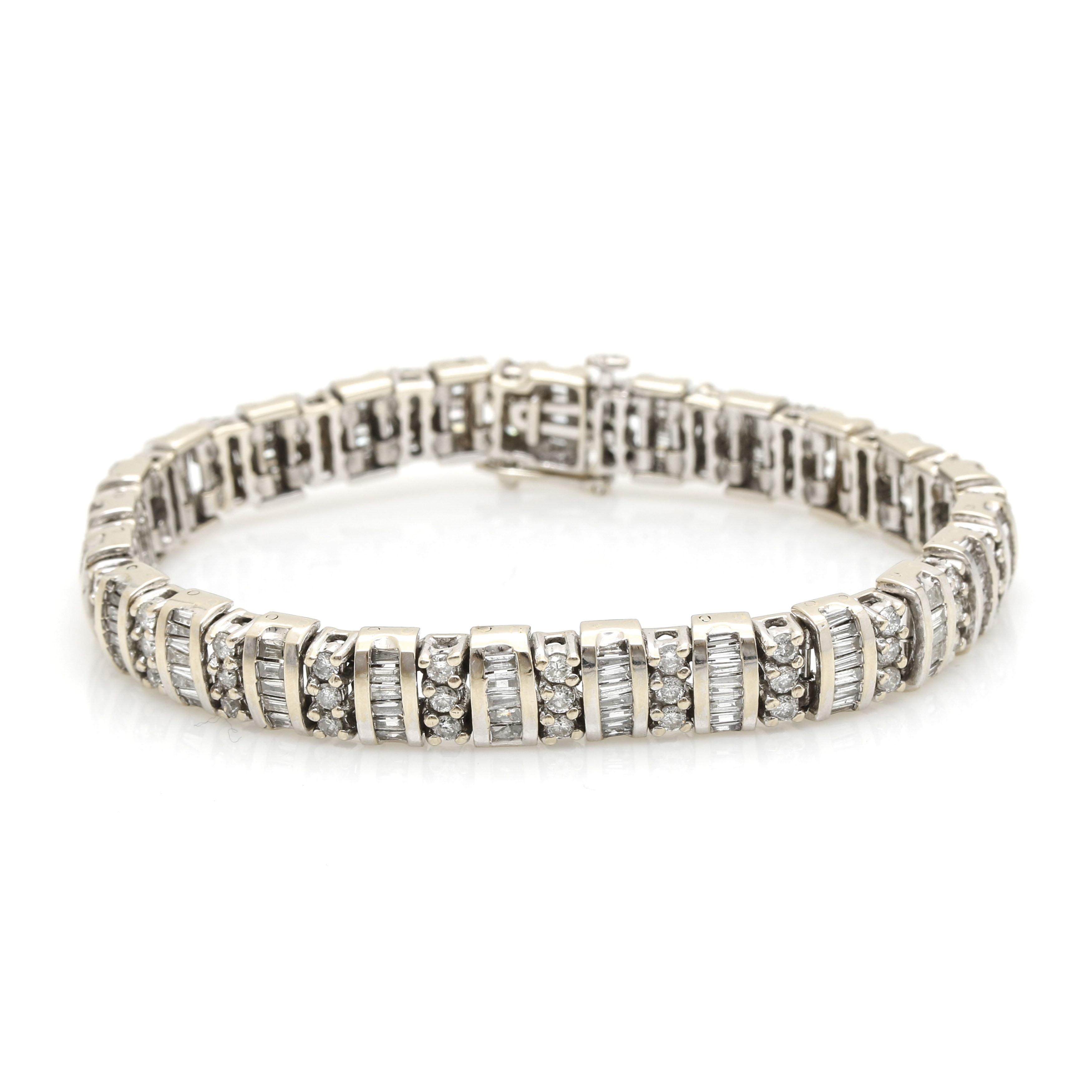 14K White Gold 4.52 CTW Diamond Link Bracelet