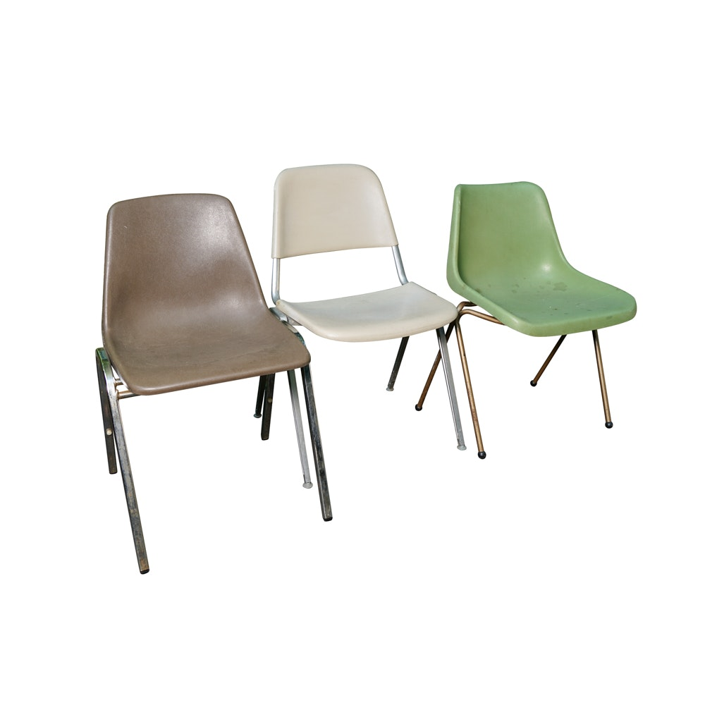 Assorted Vintage Stack Chairs Including Samsonite