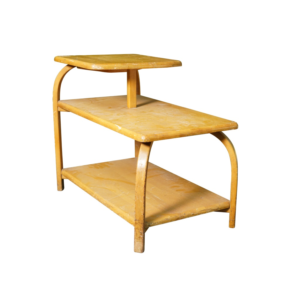 Mid Century Modern Bentwood Stepback Table