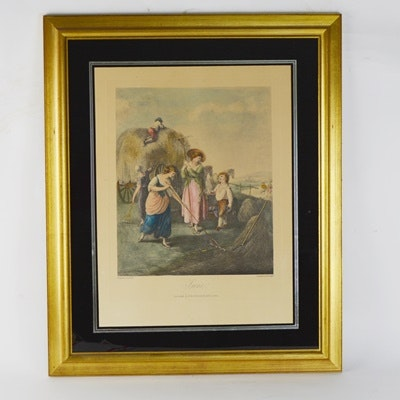 """Hand-Colored Engraving """"June"""""""