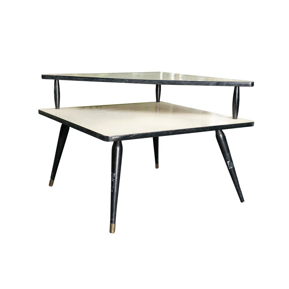 Mid Century Modern Style Tiered Corner Table