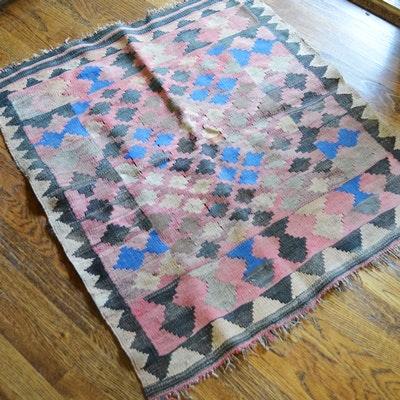 Flat Weave Geometric Wool Accent Rug