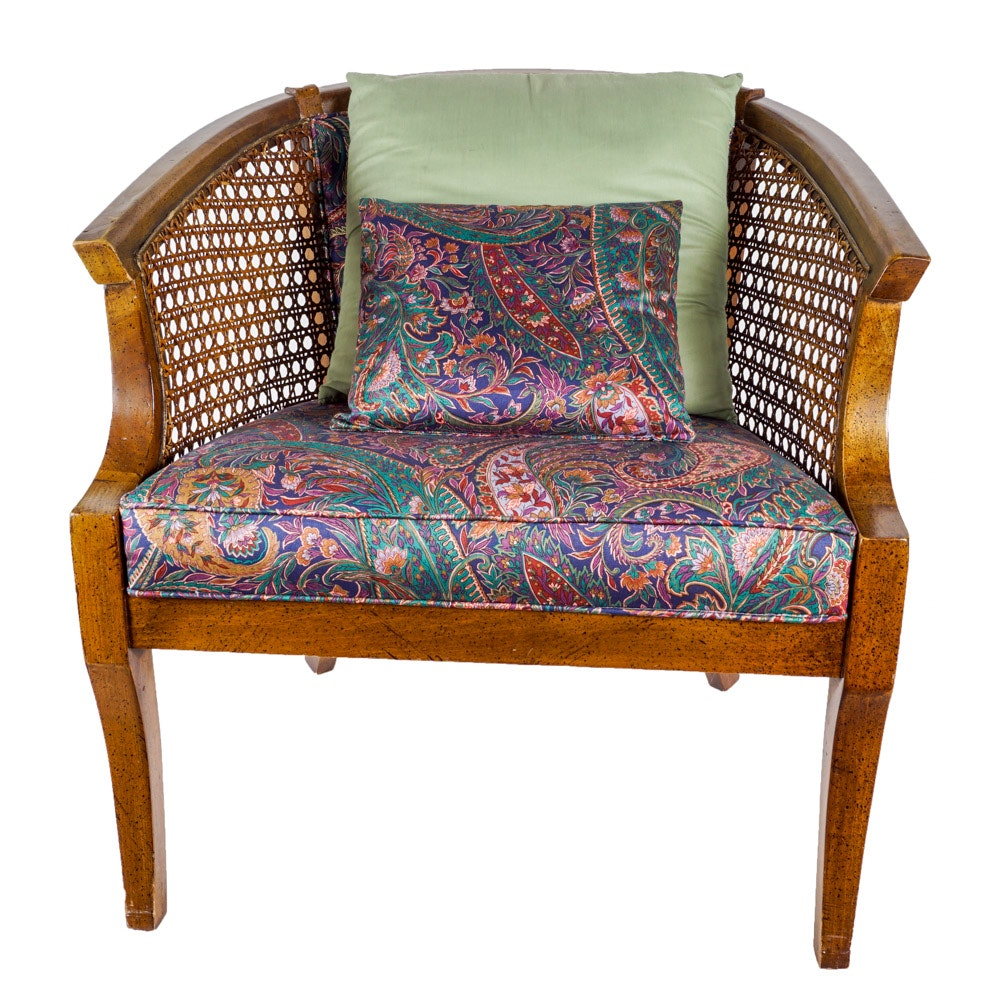 Upholstered and Caned Armchair